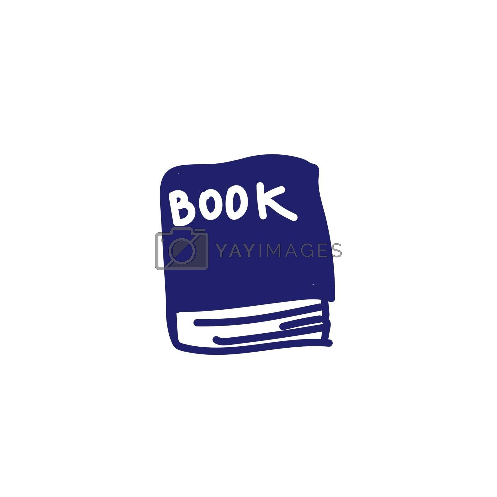 Hand drawn Blue Book Doodle Illustration picture for training. Blue outline