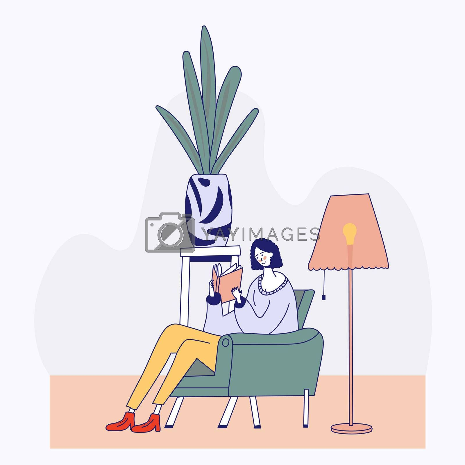 Young woman reading book on chair at home. Cartoon flat outline style illustration.