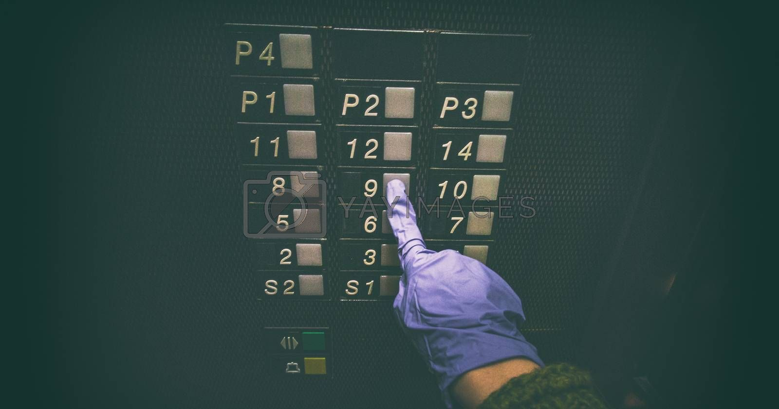 Pressing elevator button with hand wearing medical glove for hygiene, touching public surface, personal hand hygiene care for COVID-19 coronavirus prevention banner.