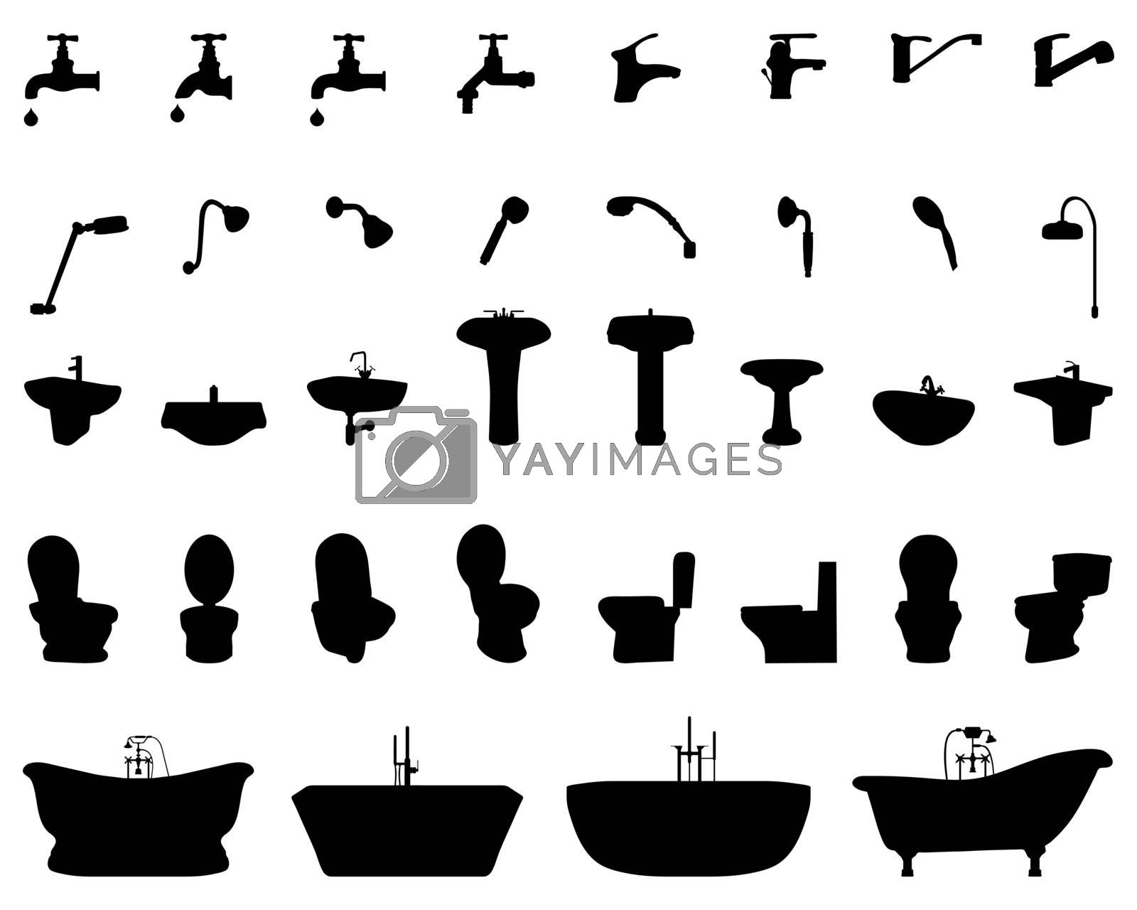 Black silhouettes of bathroom elements on a white background