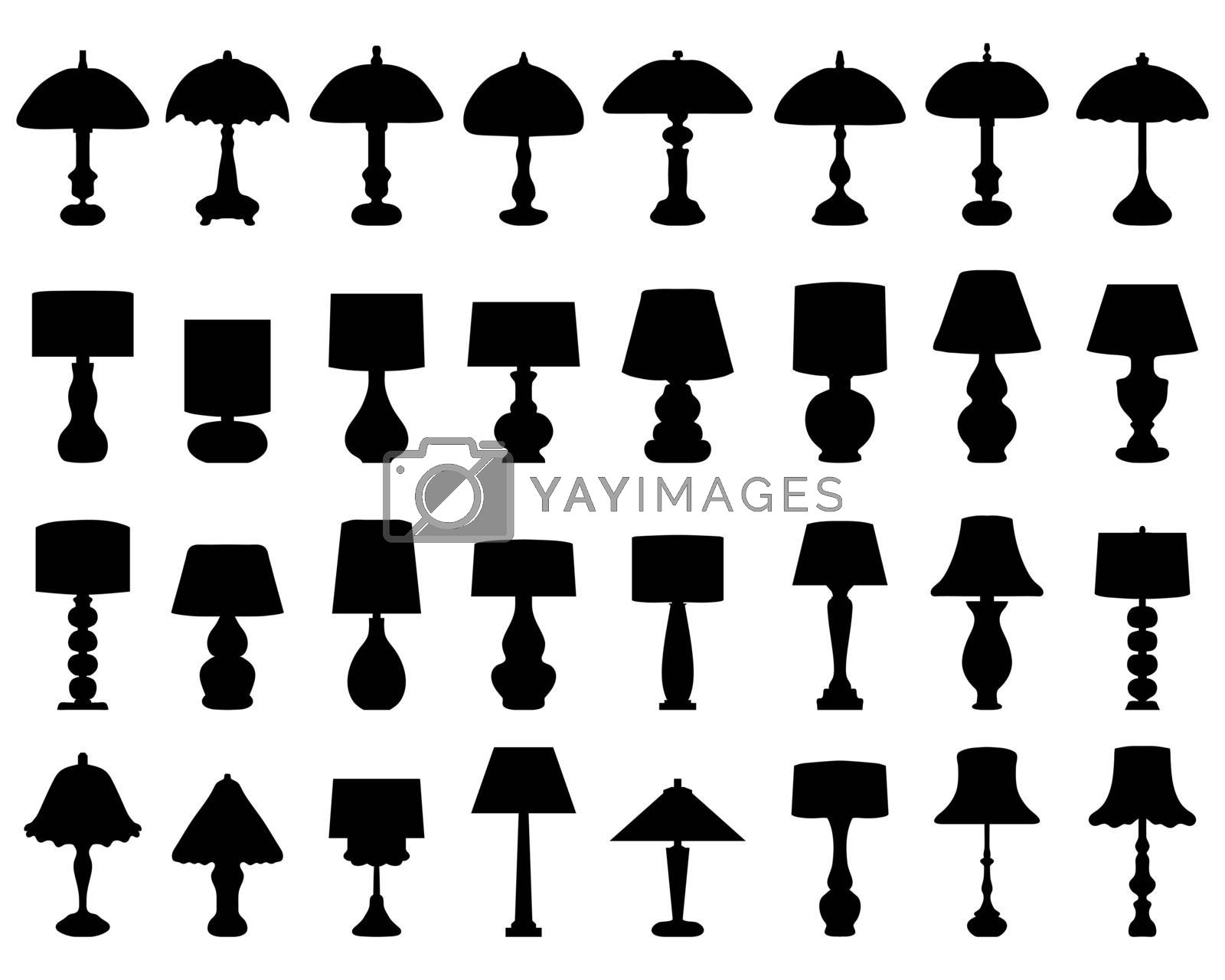 Black silhouettes of lamps and lighting on a white background