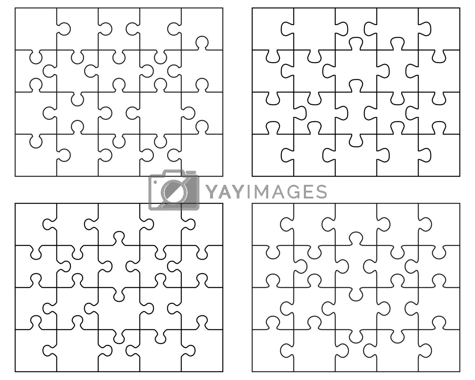 Illustration of four different white puzzles, separate pieces