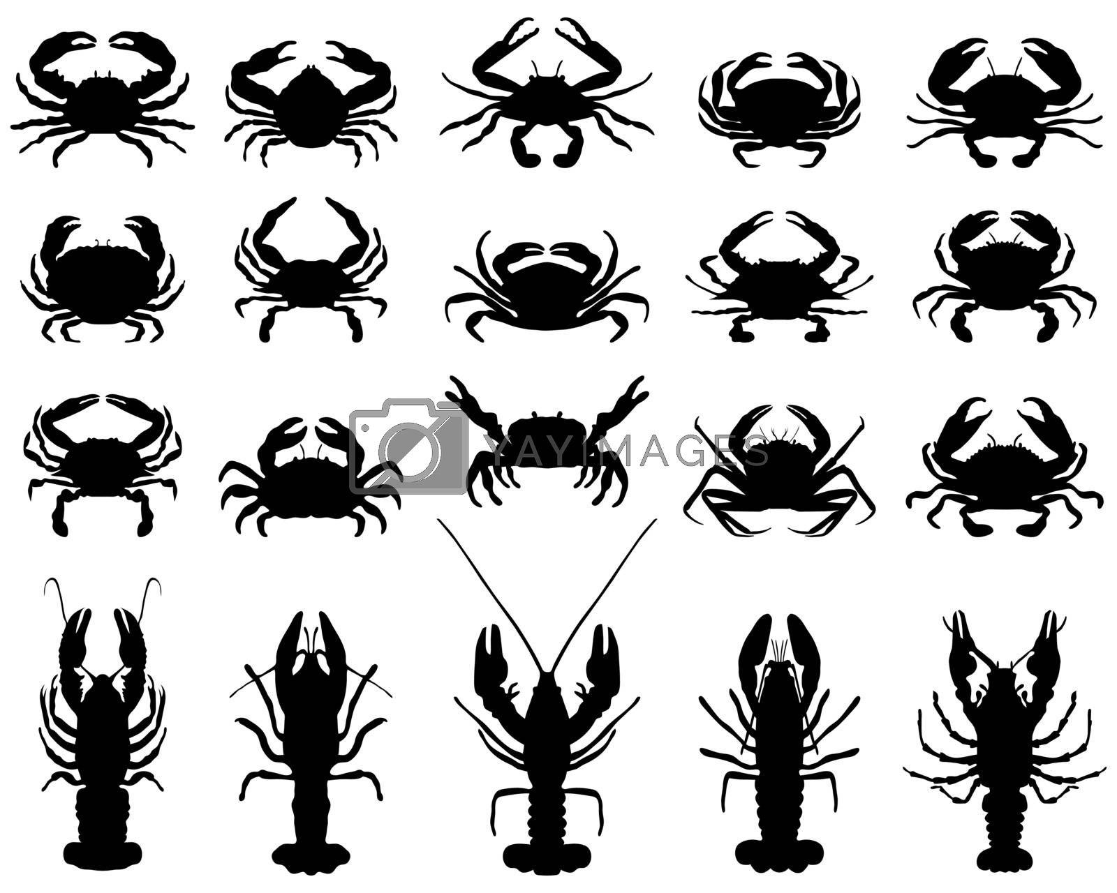 Black silhouettes of crawfish and crab on a white background