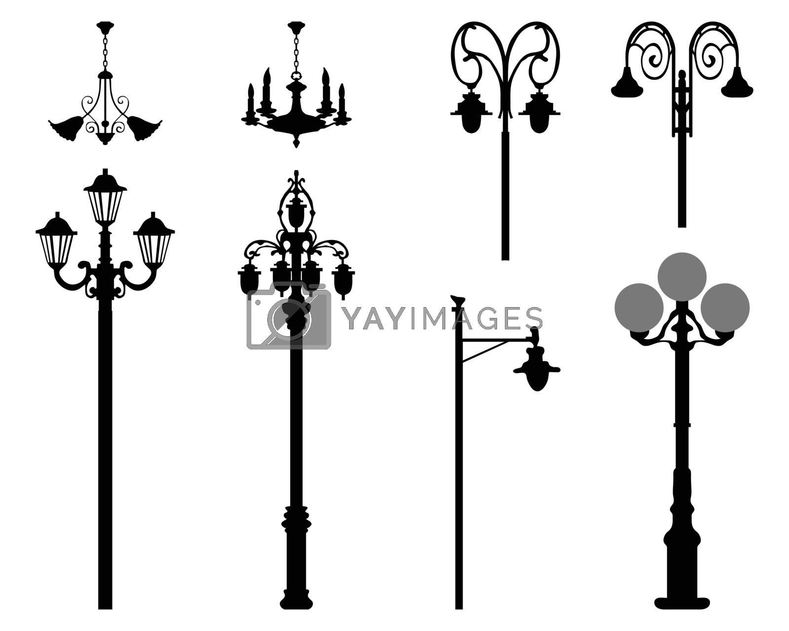 Black silhouettes of city street lanterns on a white background