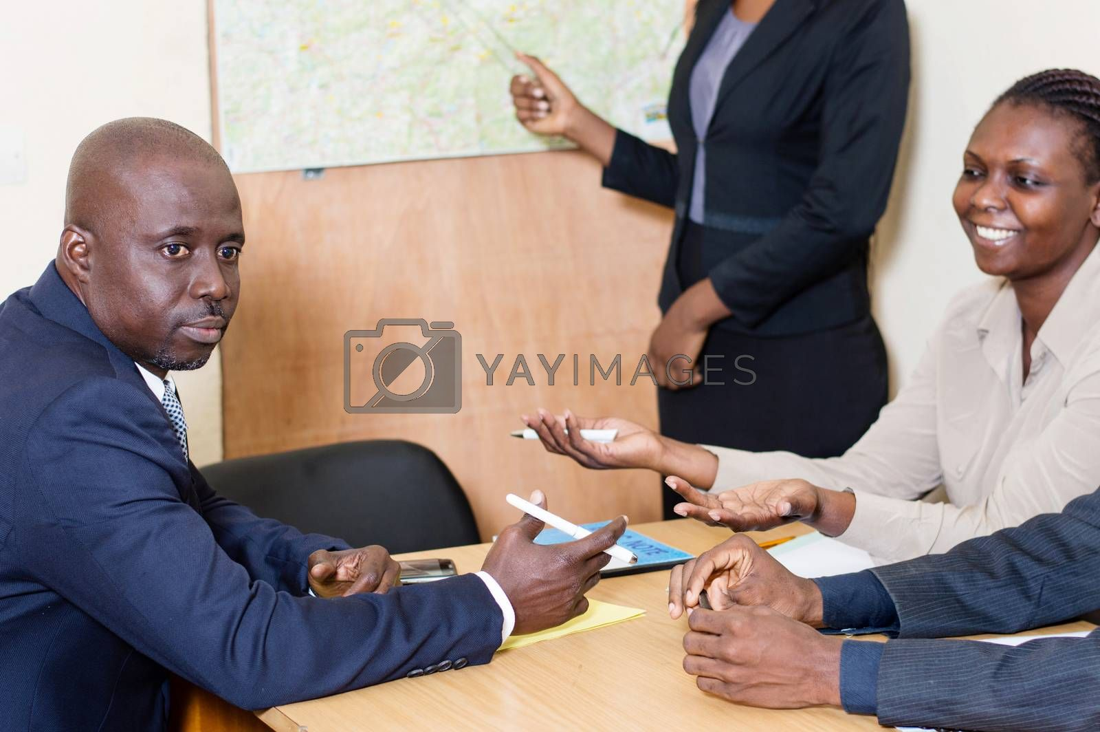 Businesswoman making a presentation at the office during a job interview.