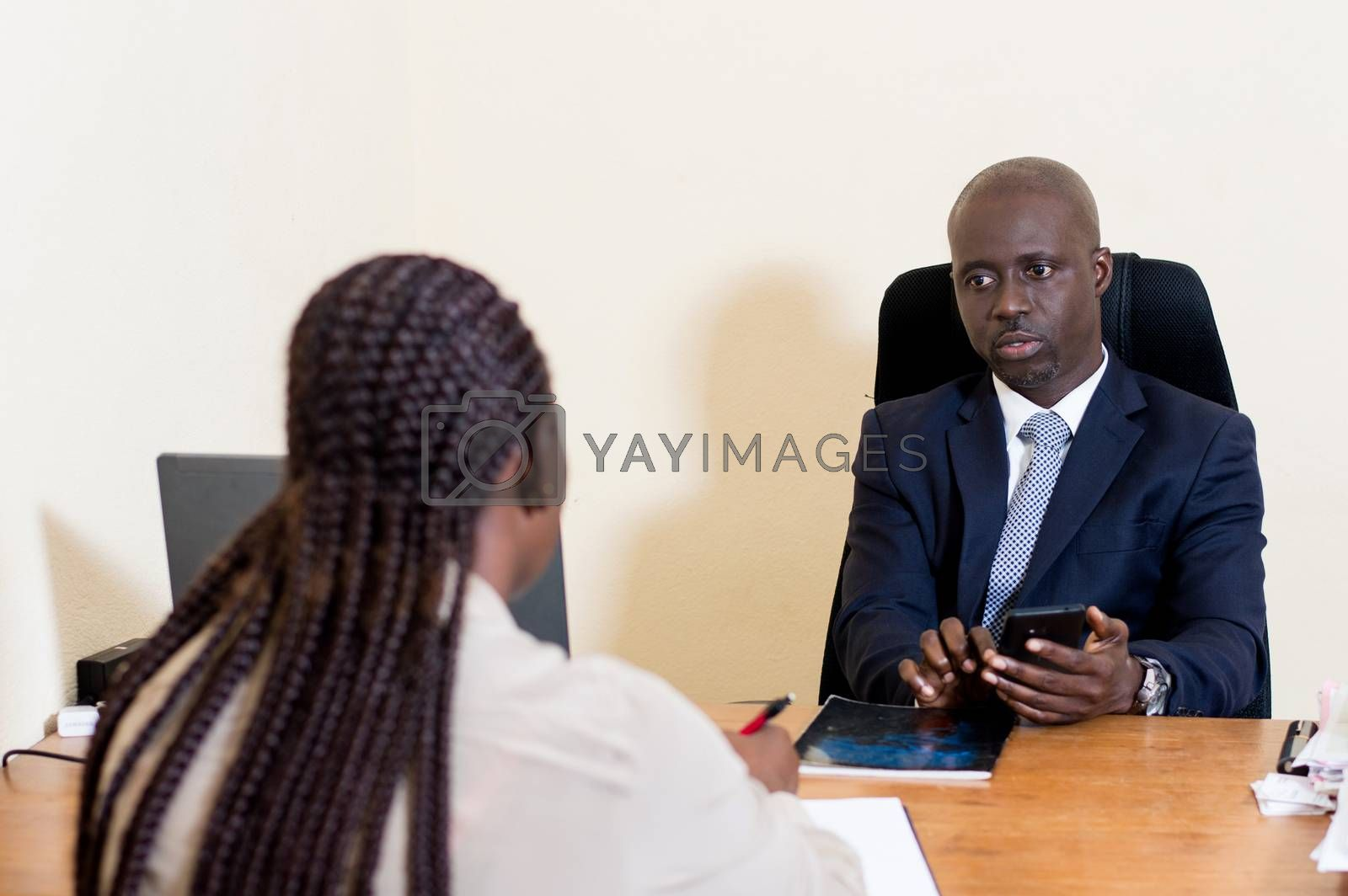 Business people meet in the office to discuss and exchange working methods.