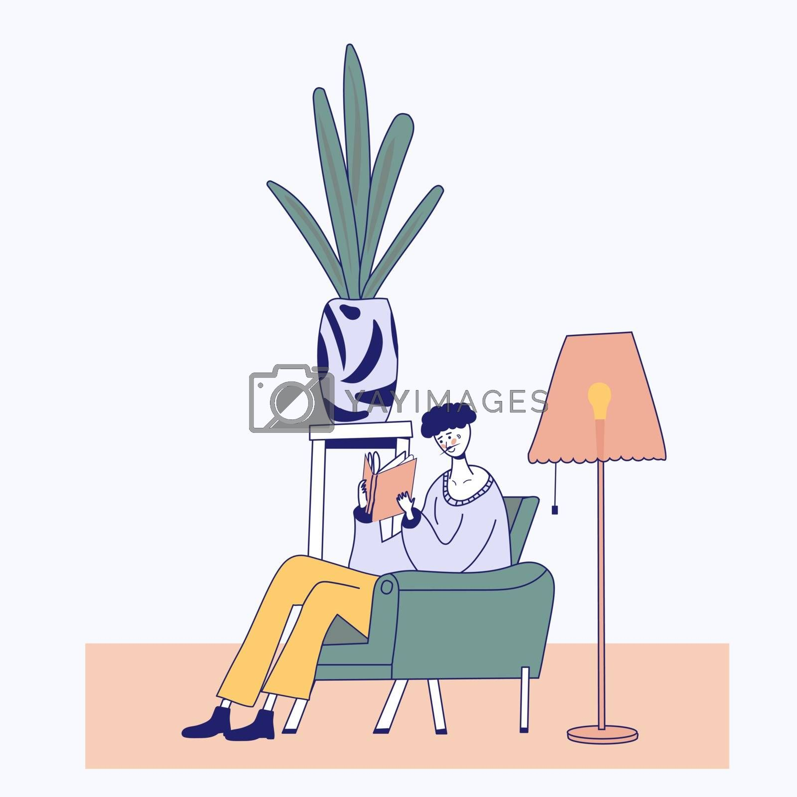 Young man reading book on chair at home. Cartoon flat outline style illustration