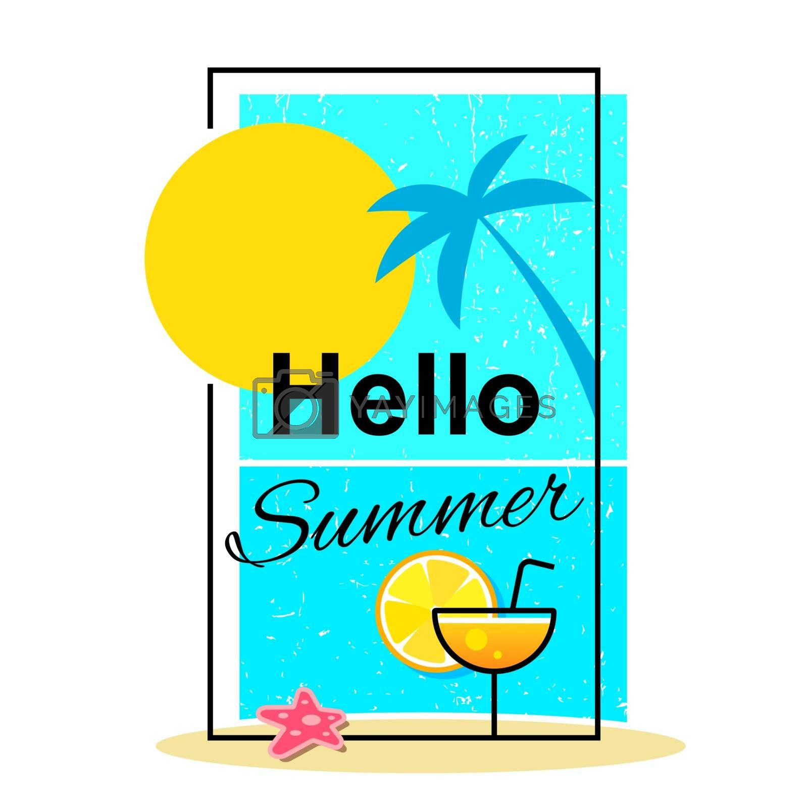 Hello Summer . Summer Time Logo Templates. Isolated Typographic Design Label. Summer Holidays Lettering For Invitation, Greeting Card, Prints And Posters. Enjoy The Beach Party