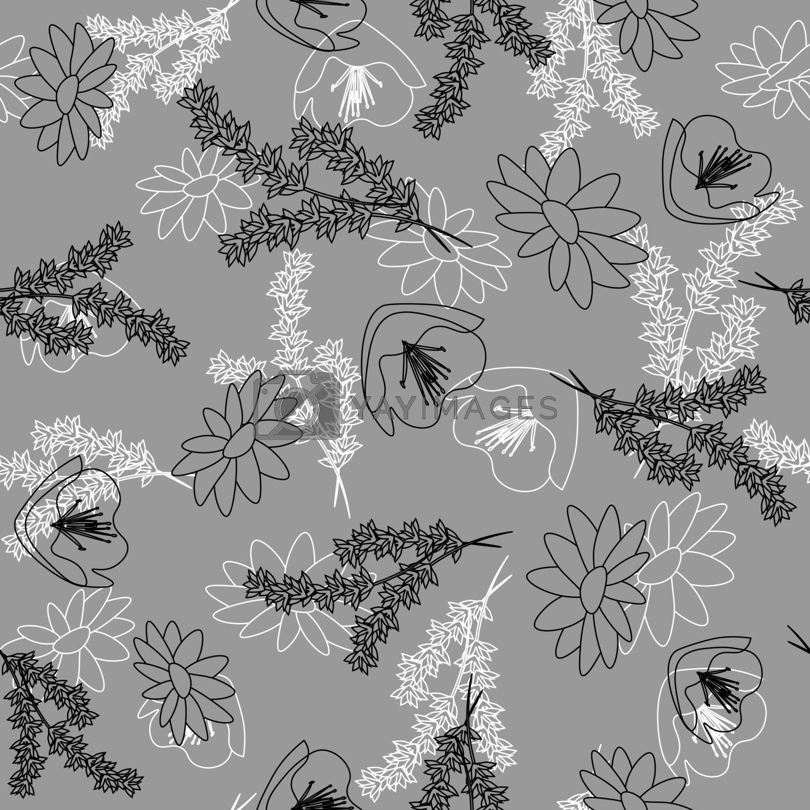 elegant delicate monochrome grey seamless pattern with black and white outline wildflowers