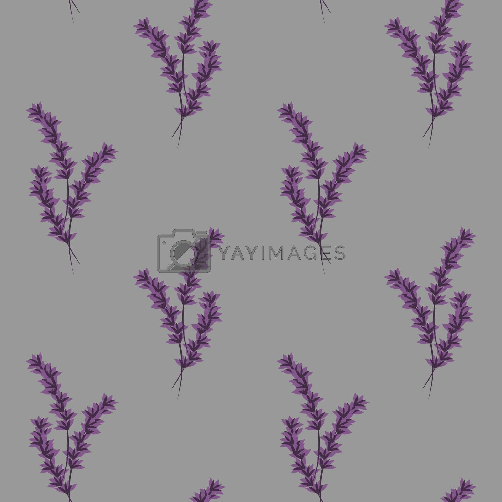 cute and delicate seamless pattern with lavender flowers on lilac background