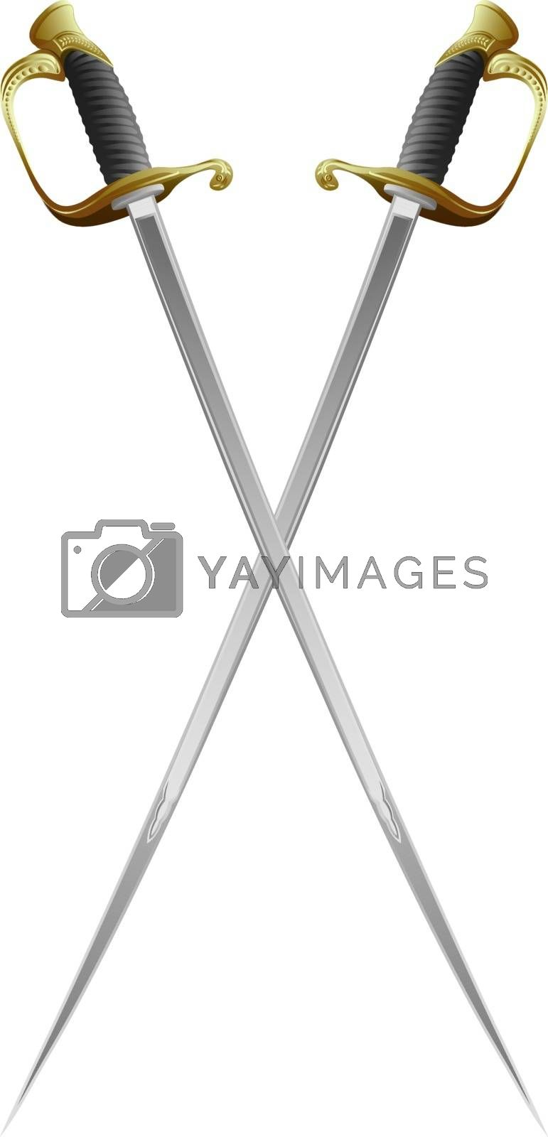 vector illustration of two realistic crossed swords with golden handle