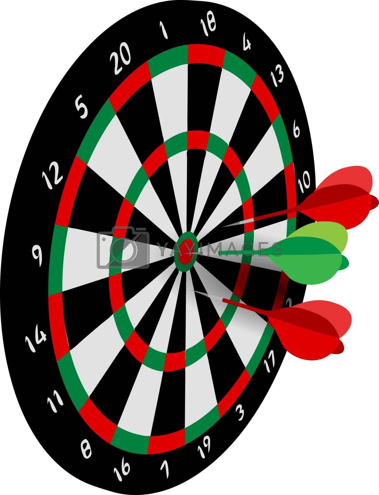 perspective vector sport illustration of three darts in realistic target or dartboard
