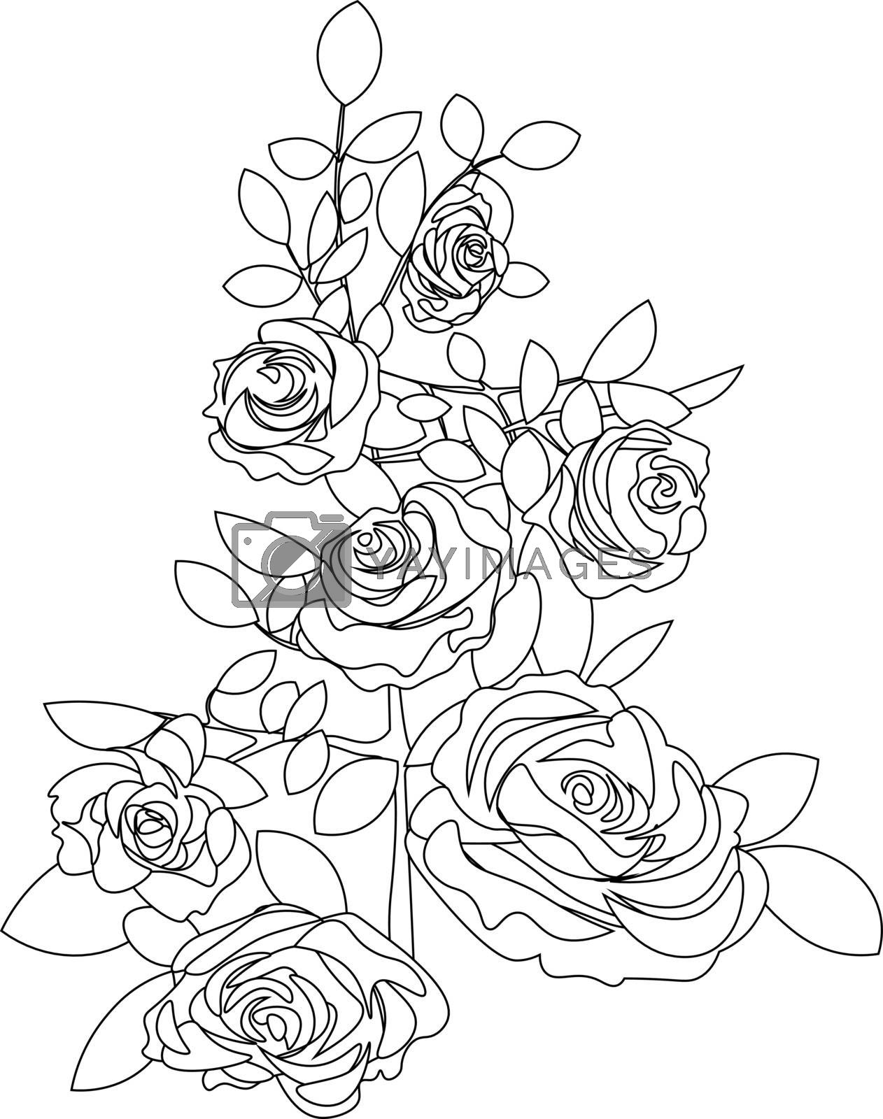 isolated simple flat line art of rose bouquet for tattoo or print