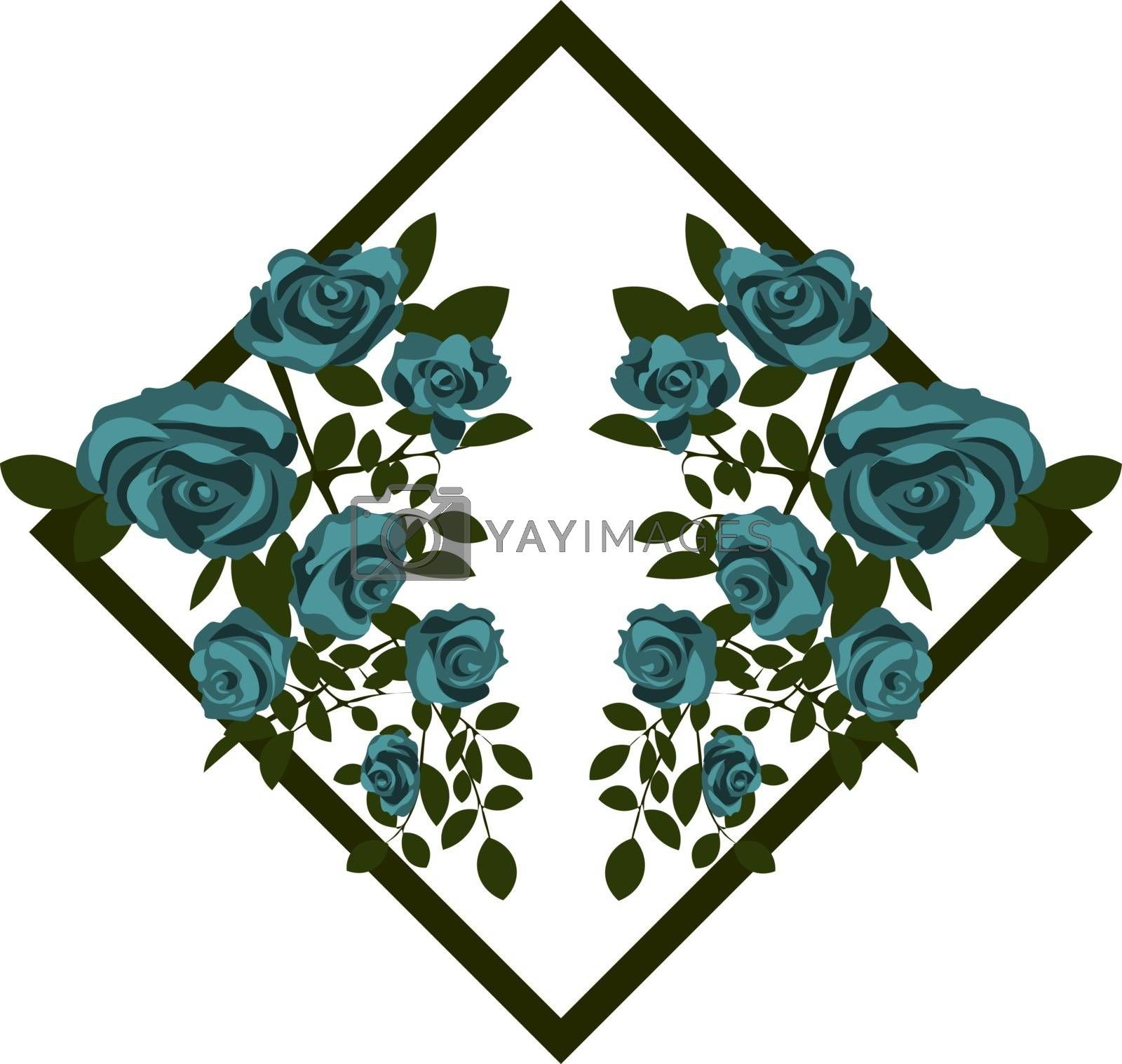 two bouquets of reflected beautiful blooming blue roses in the rhombus for greeting card