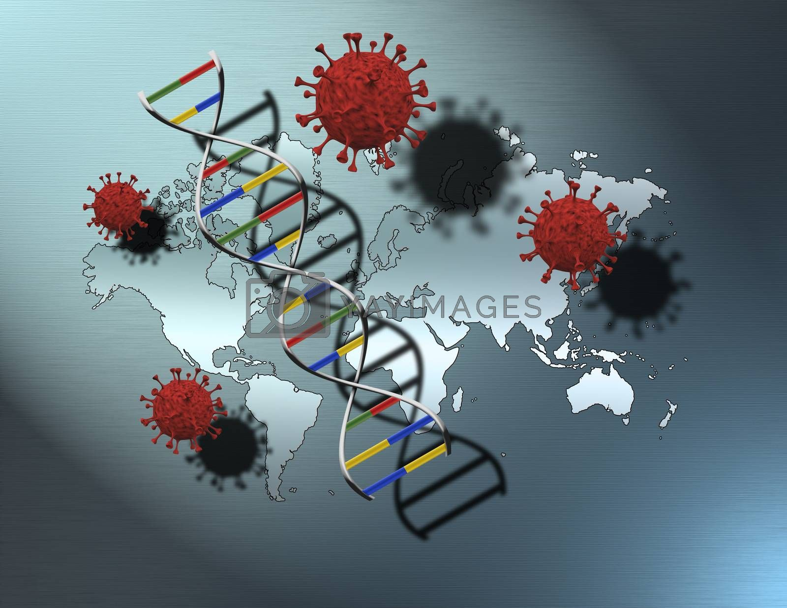 Covid molecules, world map and DNA strand. 3D rendering