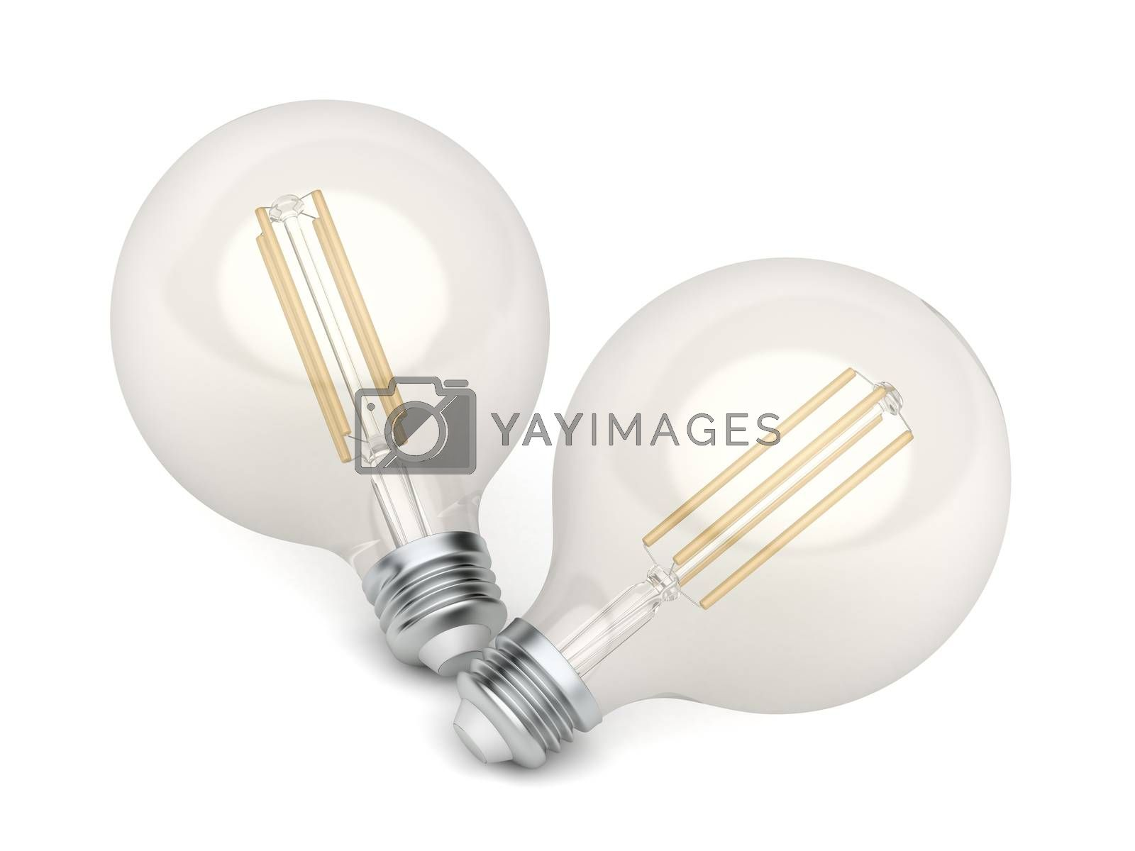 Two decorative LED light bulbs on white background