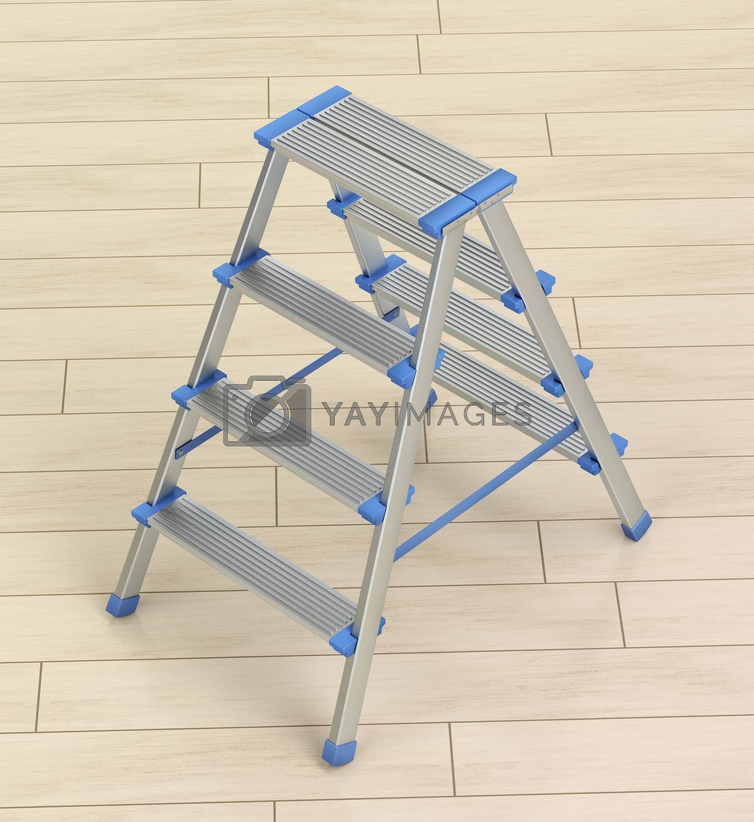 Small aluminum ladder on wooden floor