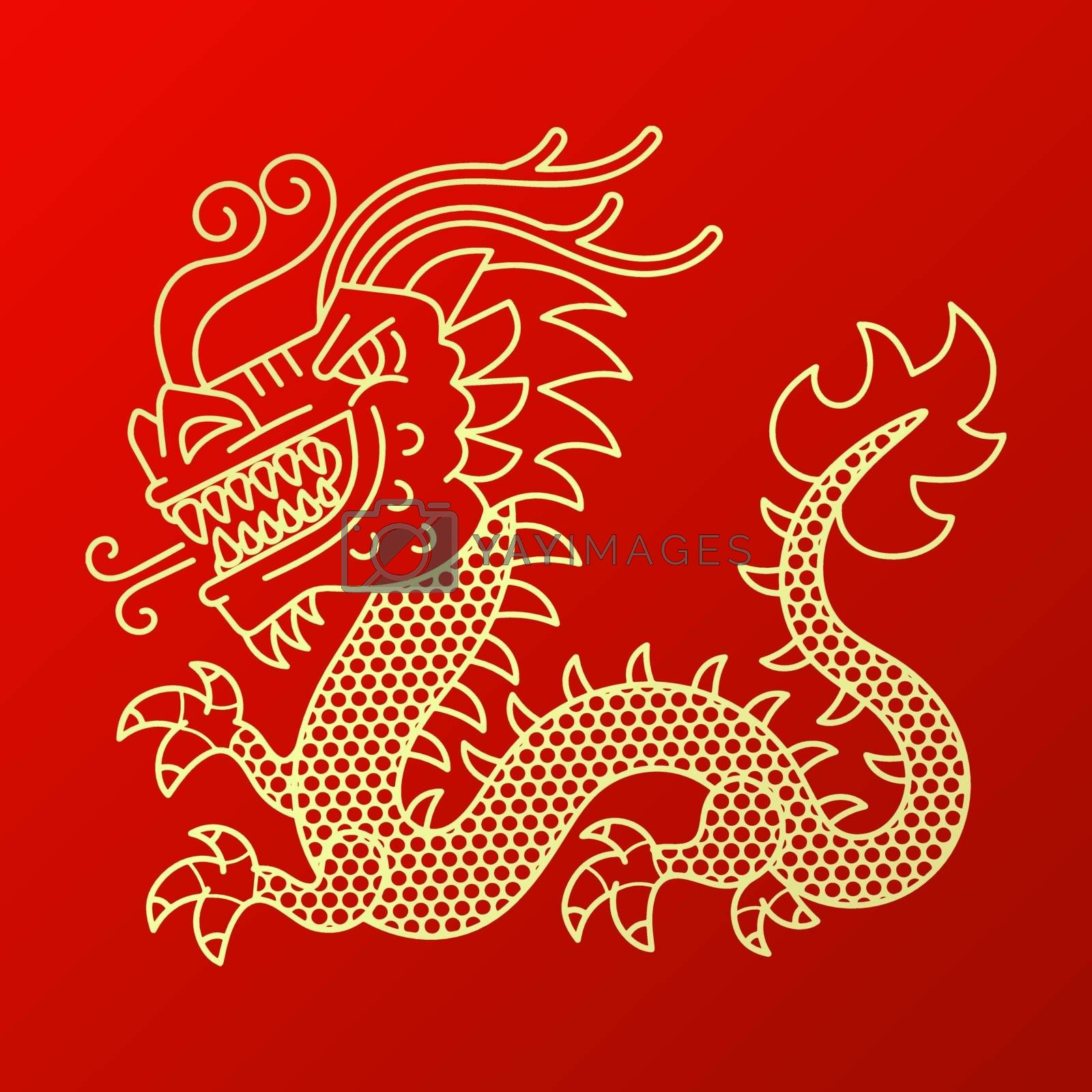 Vector background with asia dragons. Hand drawn illustration. Sketch.