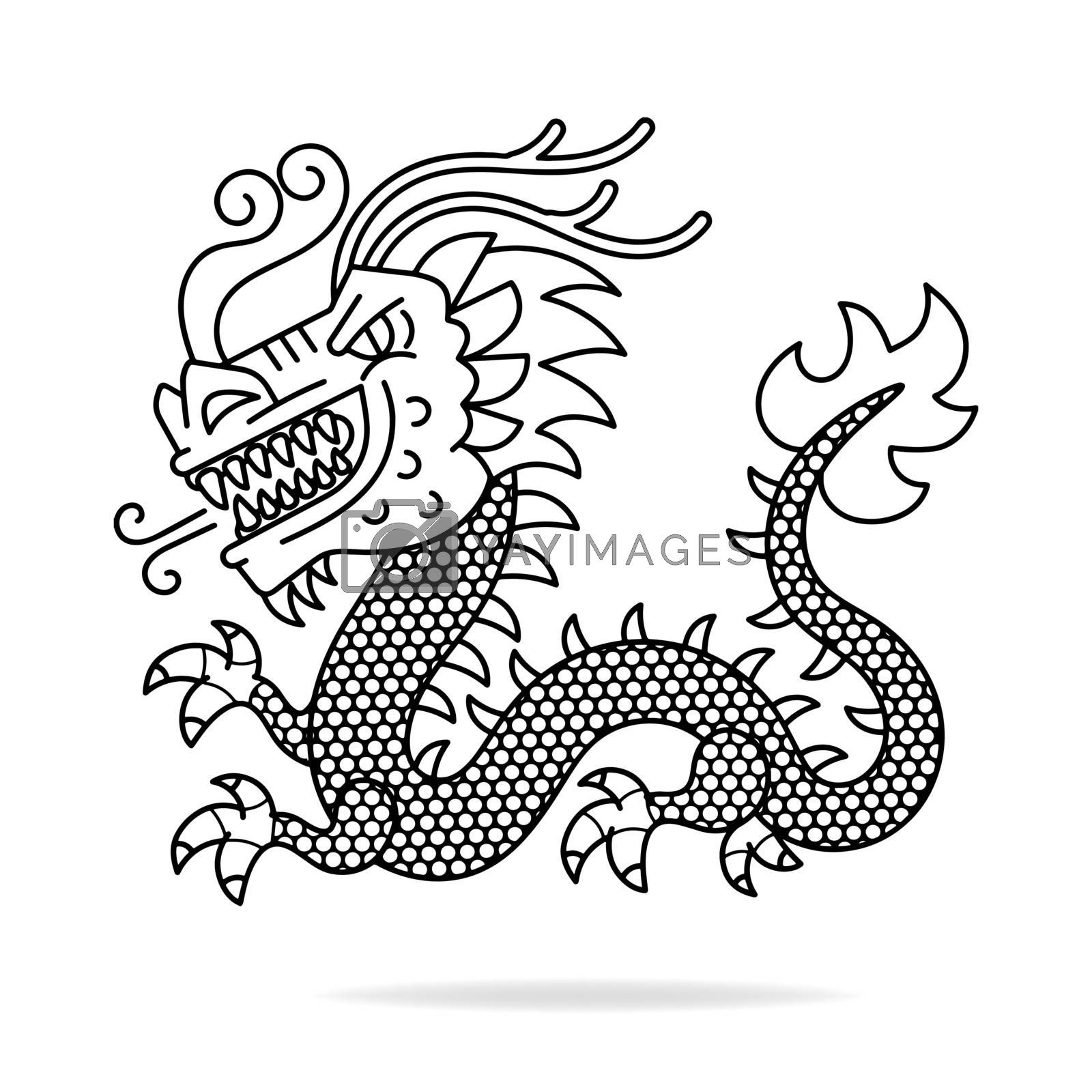 Vector of Chinese Ancient Dragon Vector Illustration Suitable For Greeting Card, Poster Or T-shirt Printing.