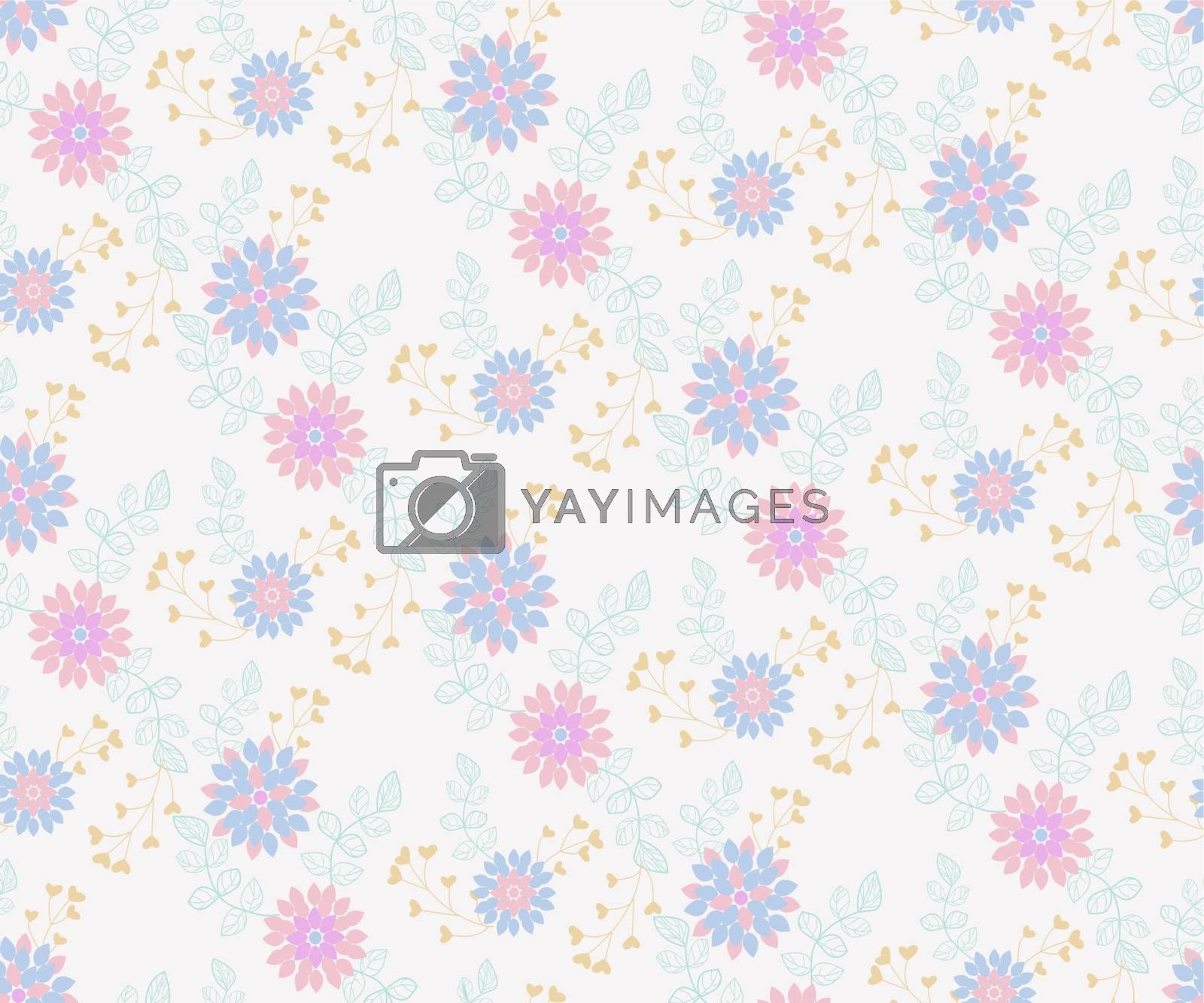 Trendy Seamless Floral Pattern with leaves, flowers and floral elements. Small colorful multicolor flowers. The elegant the template for fashion print or wallpaper.