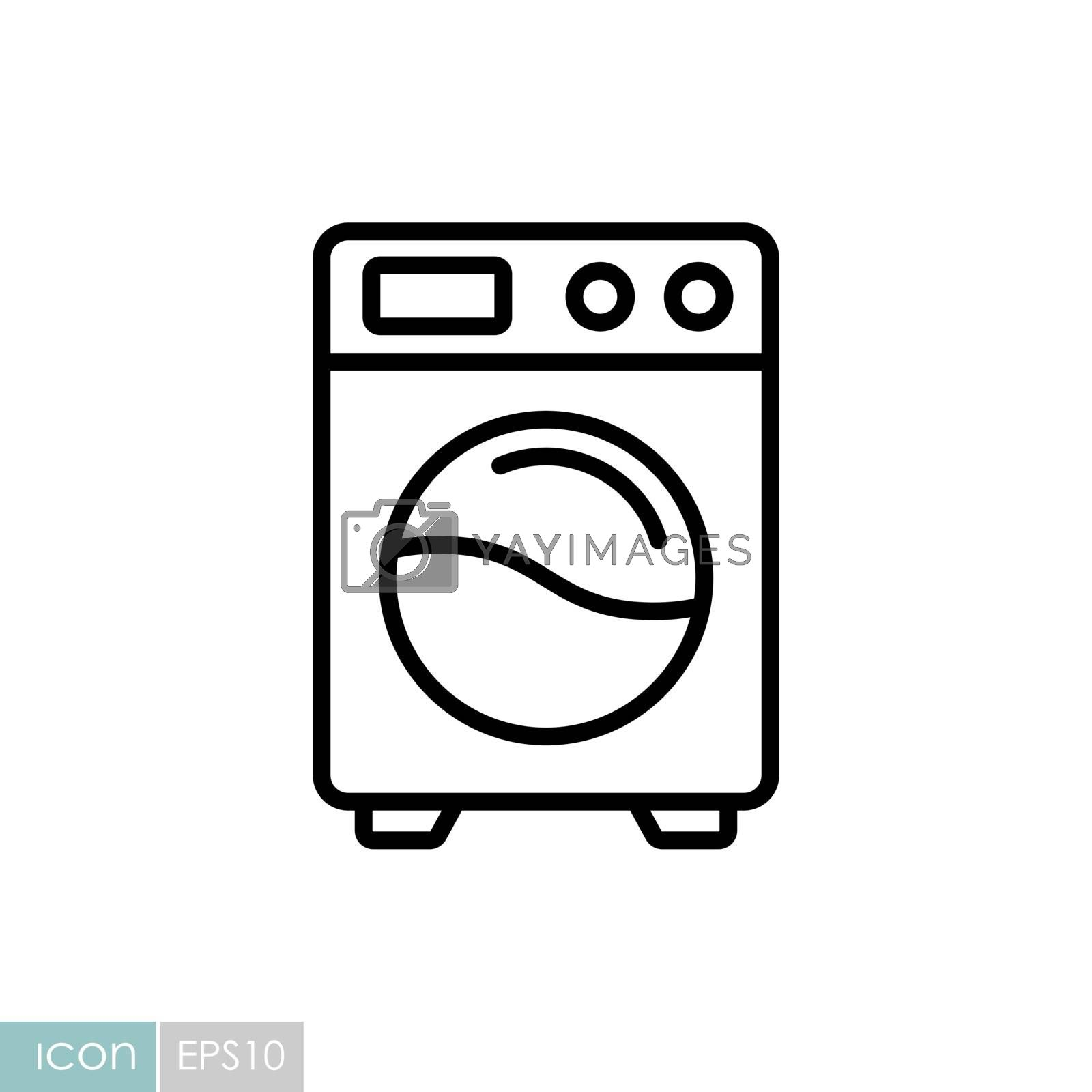 Washing machine flat vector icon. Graph symbol for household electric web site and apps design, logo, app, UI