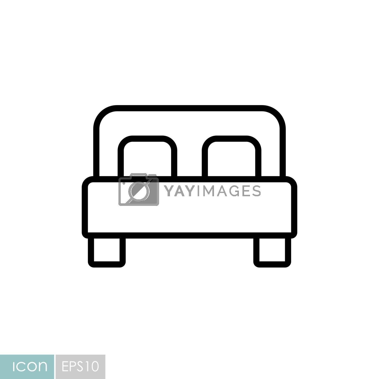 Double bed flat vector icon. Graph symbol for travel and tourism web site and apps design, logo, app, UI