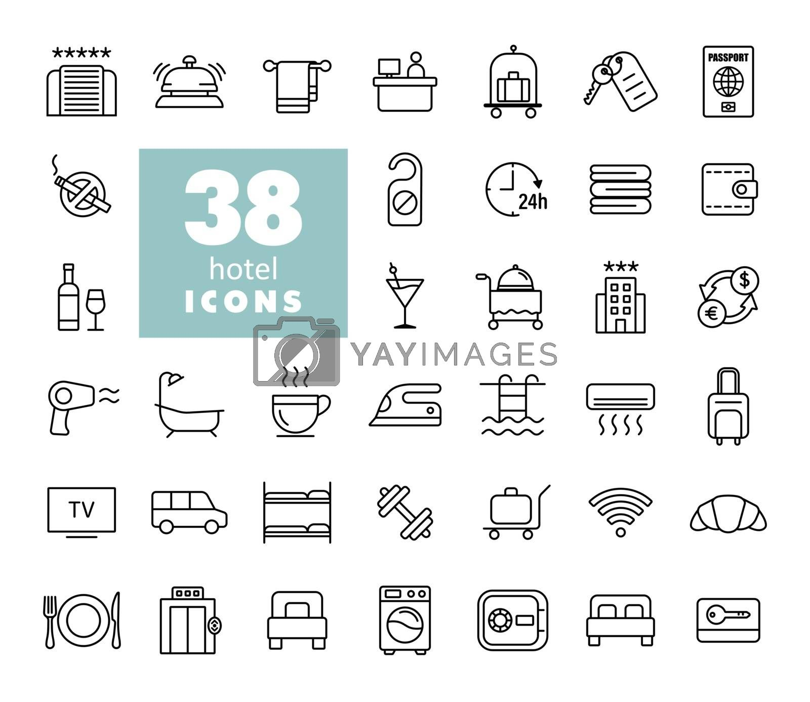 Hotel vector flat icon set. Graph symbol for travel and tourism web site and apps design, logo, app, UI