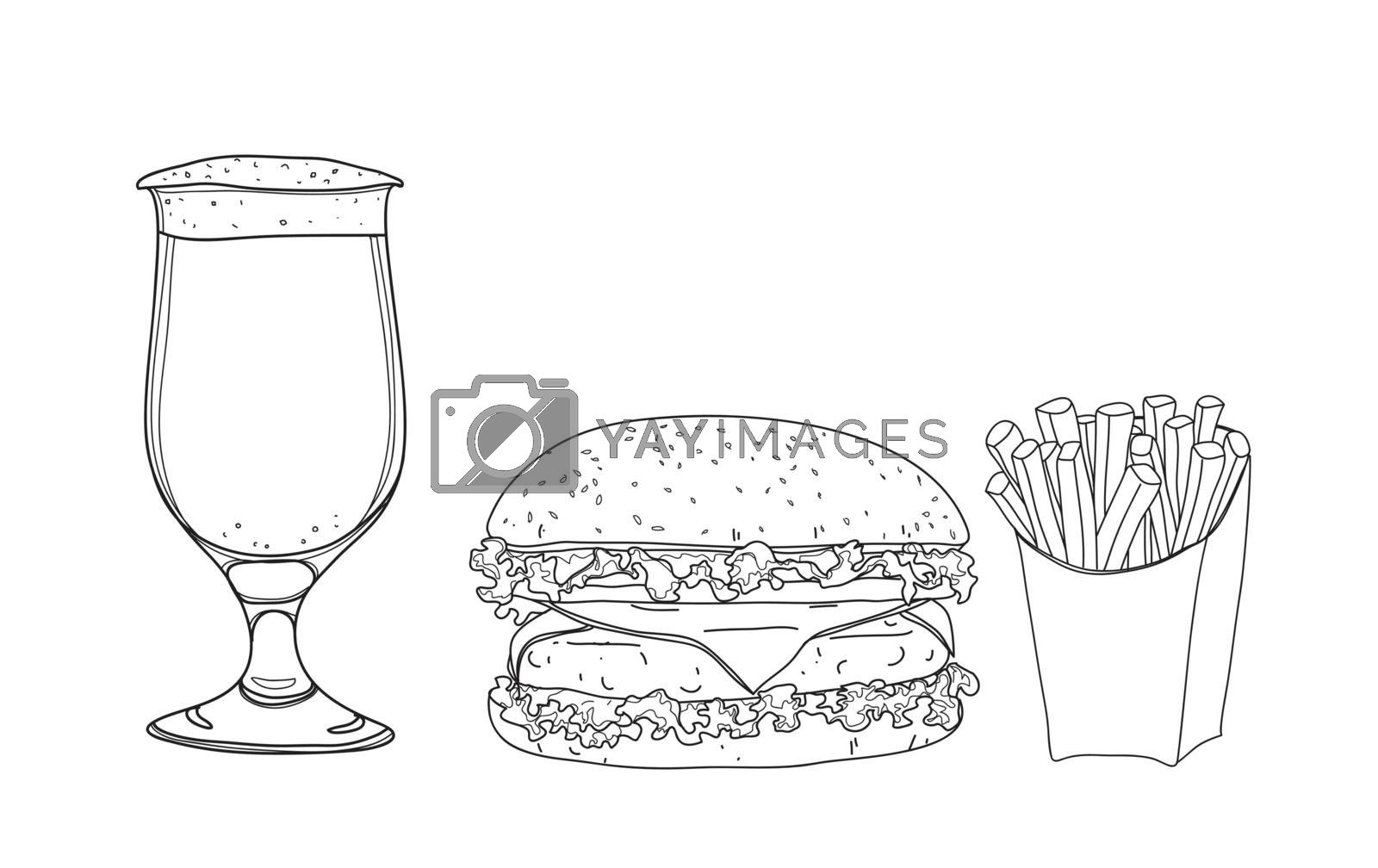 hamburger food set. and beer glasses  hand drawn style line art  by paidaen