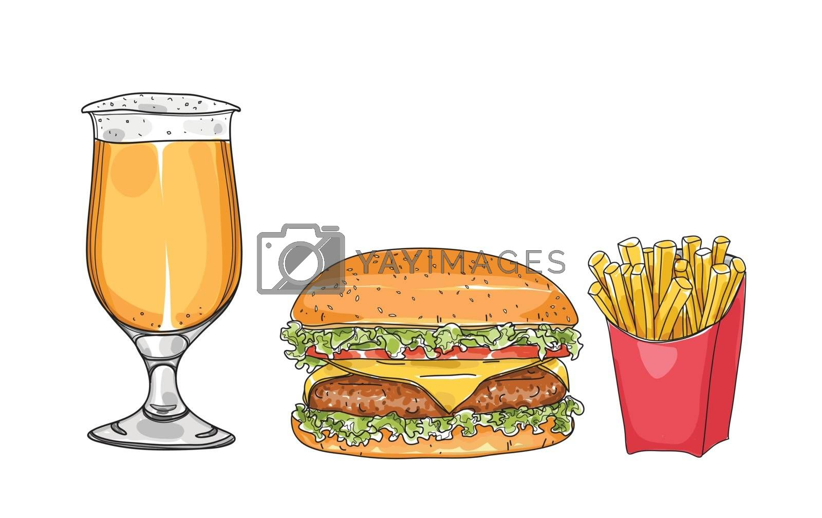 hamburger set. and beer glasses  hand drawn style art Vector ill by paidaen