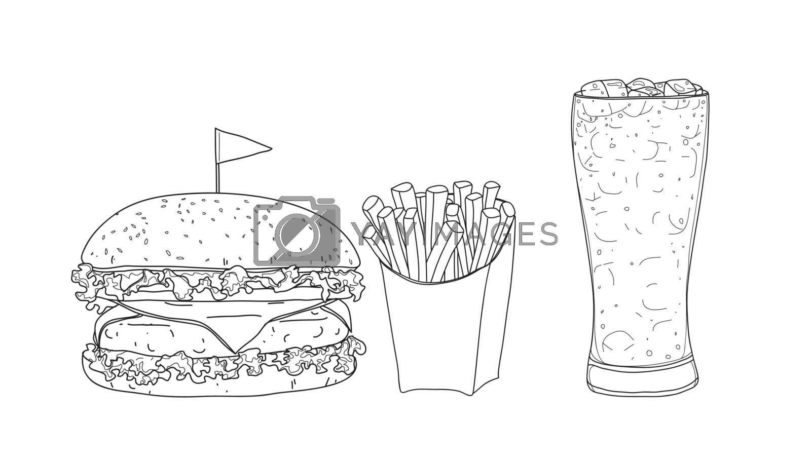 hamburger food set. glasses  hand drawn style line art Vector il by paidaen