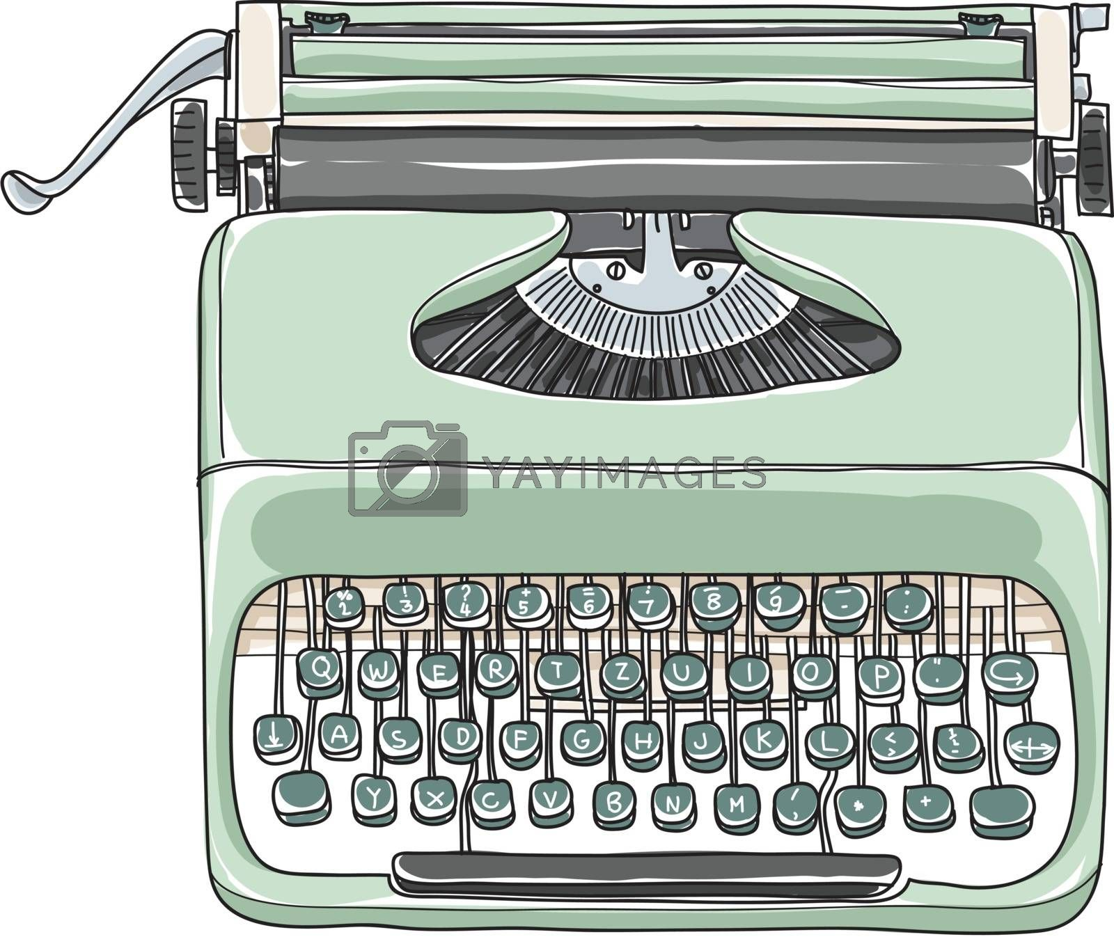 Mint green vintage  typewriter portable retro hand drawn vector art illustration