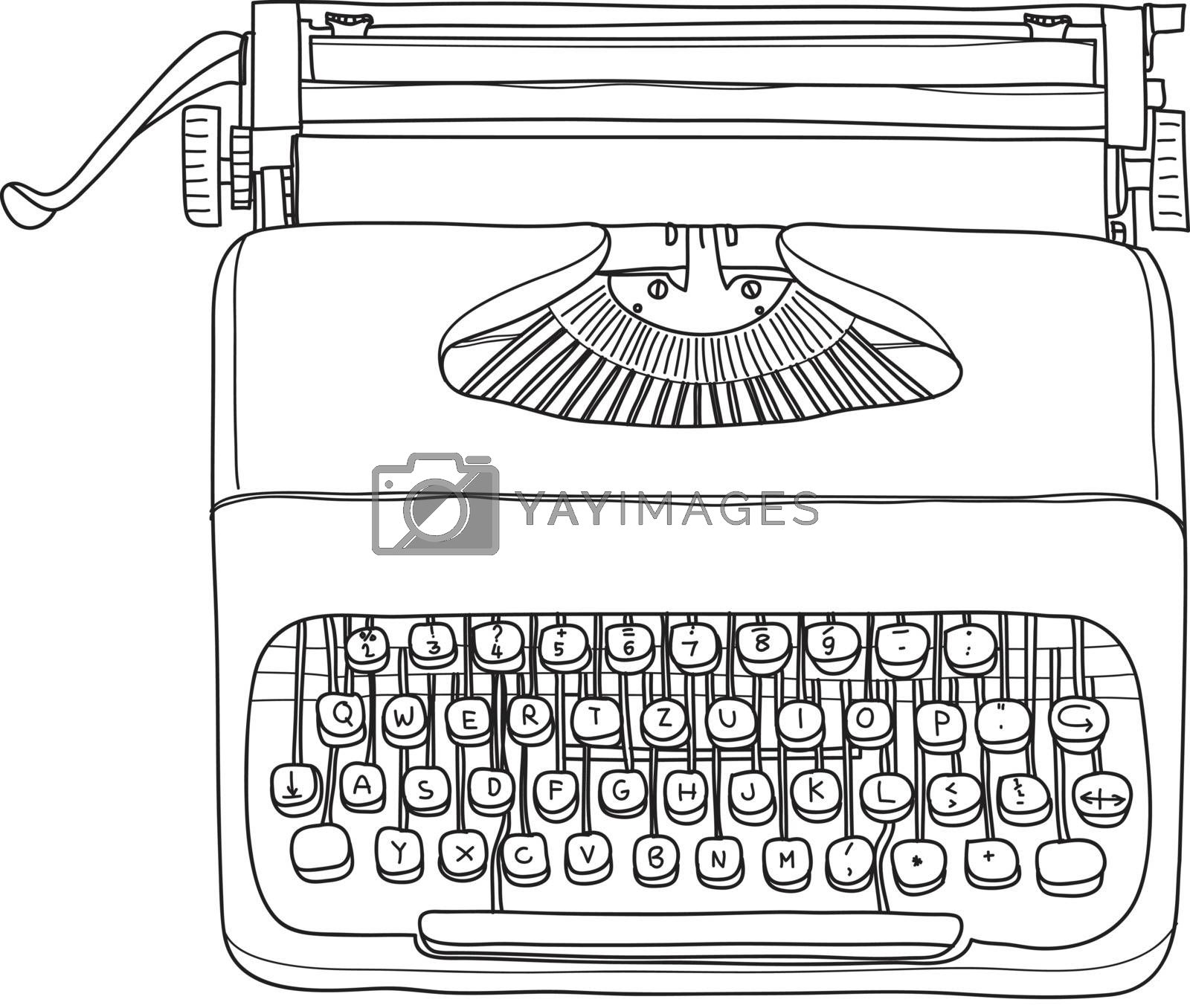 vintage  typewriter portable retro hand drawn vector line art illustration