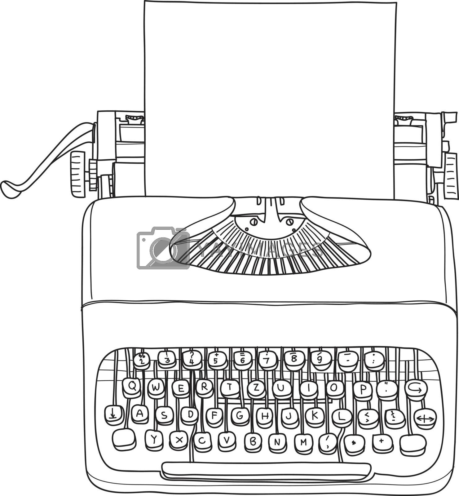 vintage  typewriter portable retro with paper  hand drawn vector line art illustration