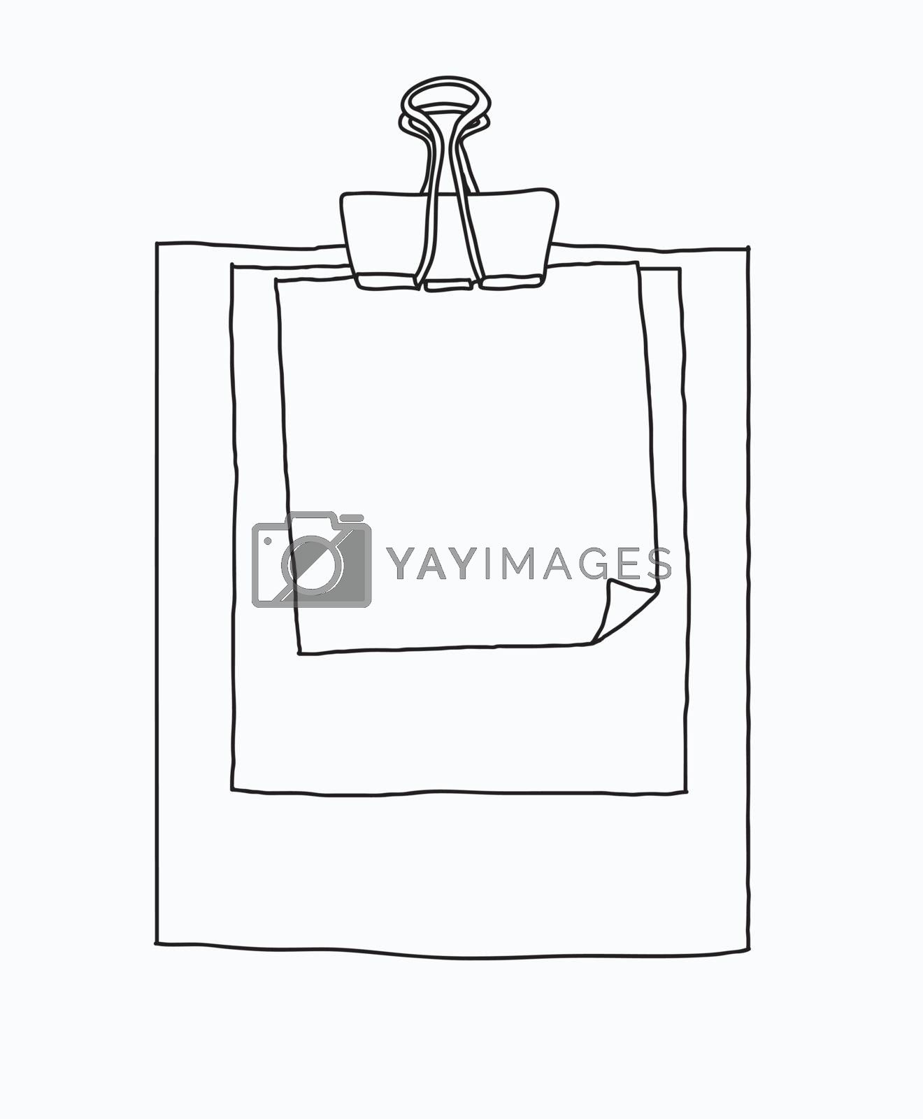 note paper with Paper clip hand drawn background vector cute line art illustration