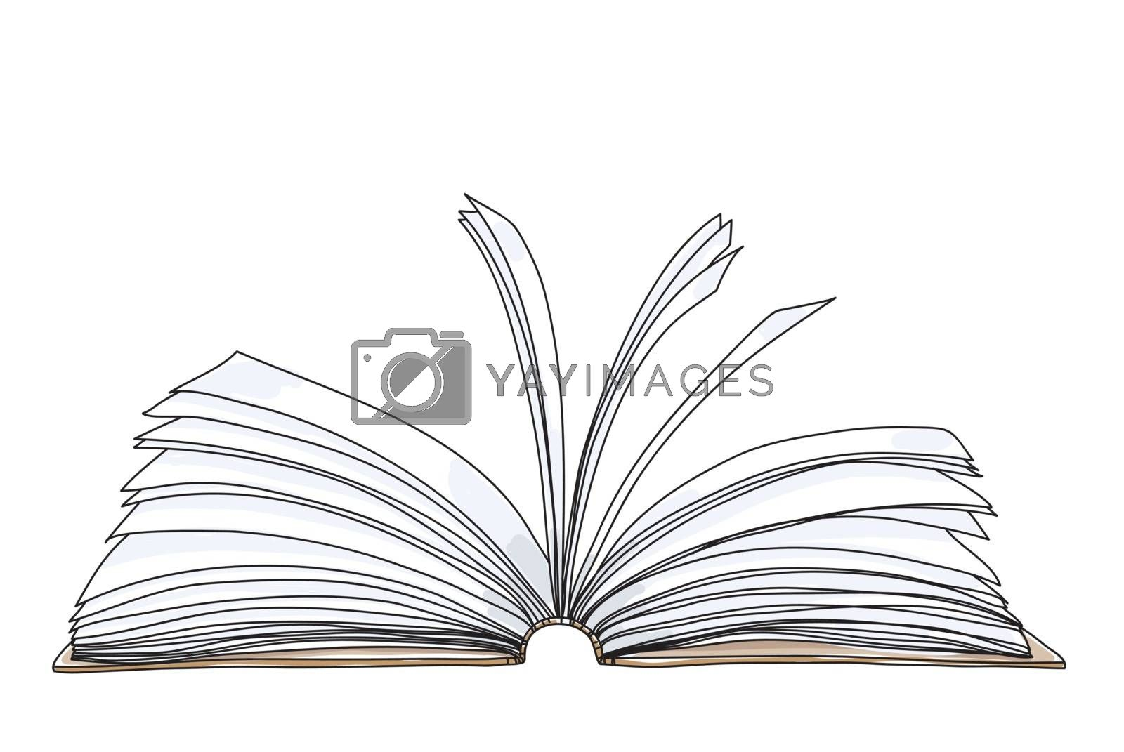open book notebook hand drawn cute art painting vector illustration