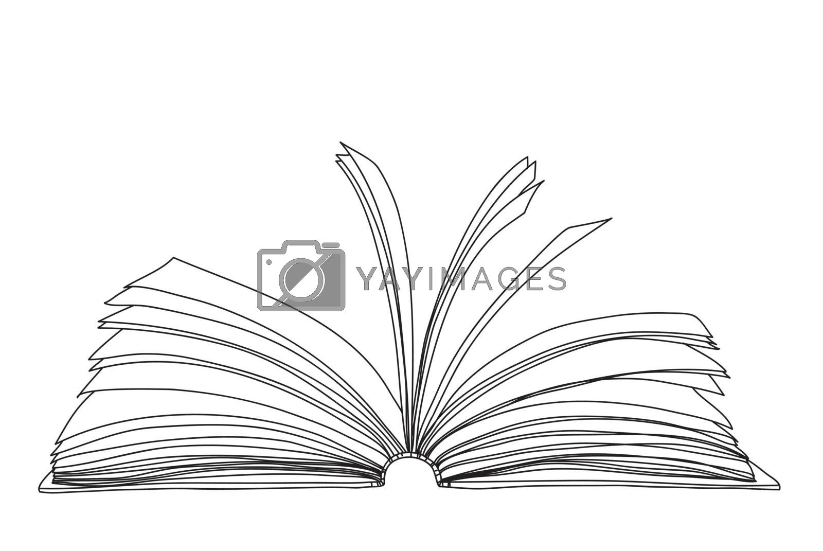 open book notebook hand drawn cute line art vector illustration