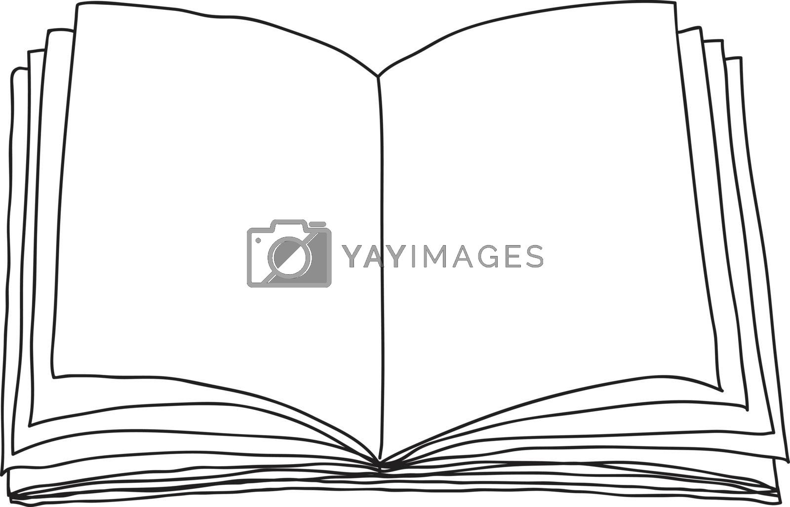 Opened book, blank paper hand drawn vector line art illustration