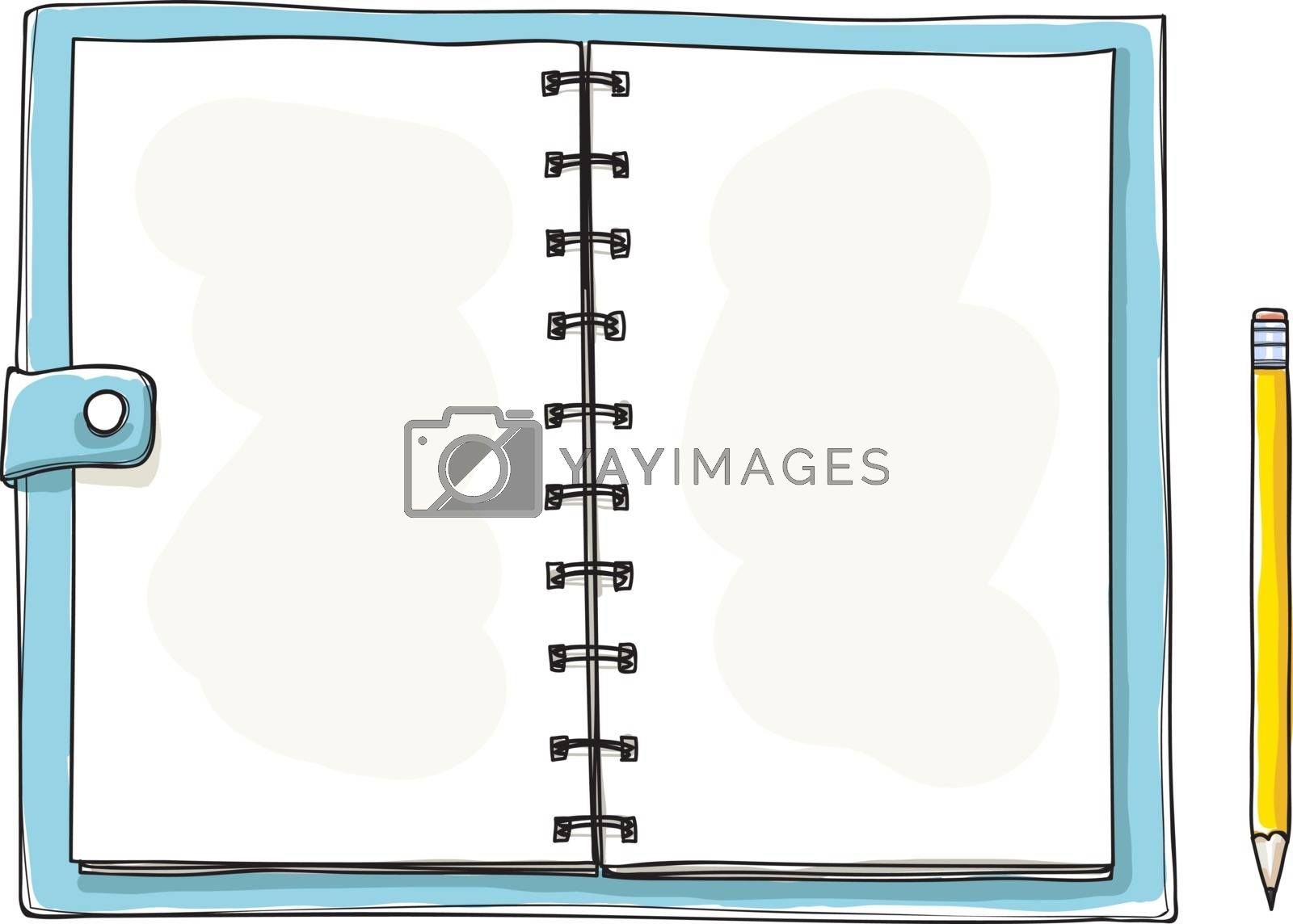 opened notebook hand drawn. Blank notepad on white background. Applicable for sketches and signs presentation. illustration