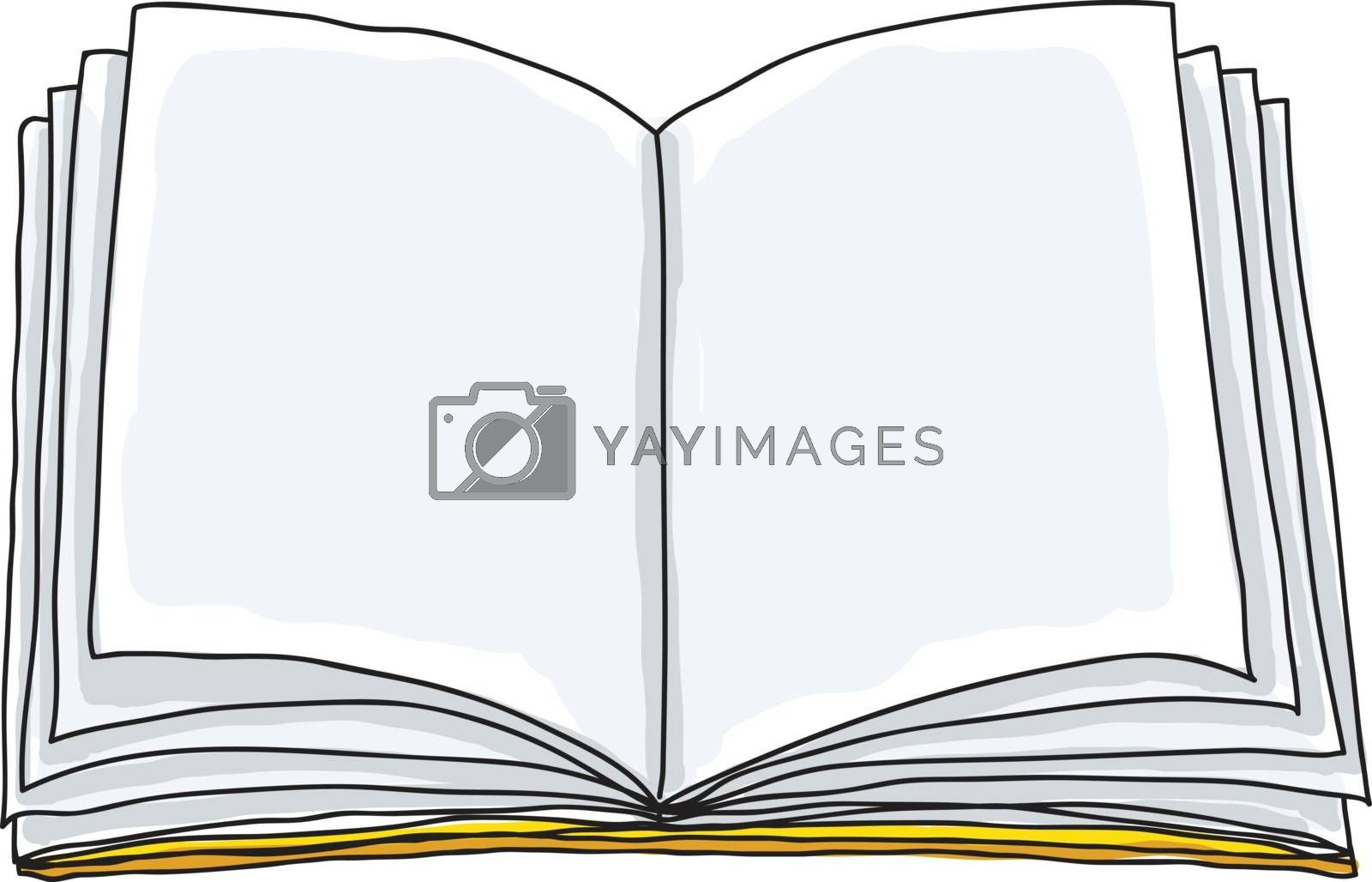 Opened book, blank paper hand drawn vector art illustration