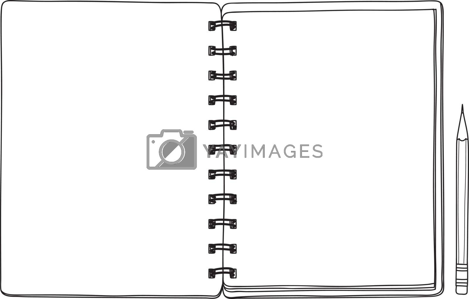 opened notebook and pencil hand drawn vector line art cute illustration
