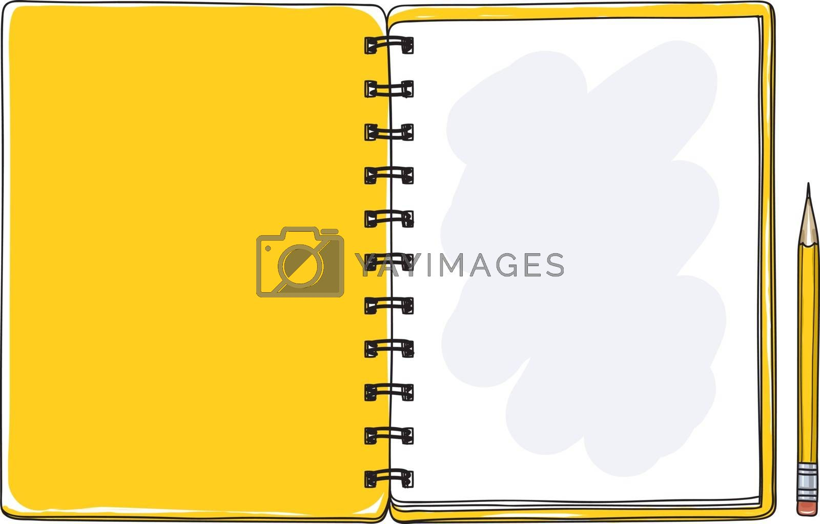 opened yellow notebook and pencil hand drawn vector art cute illustration