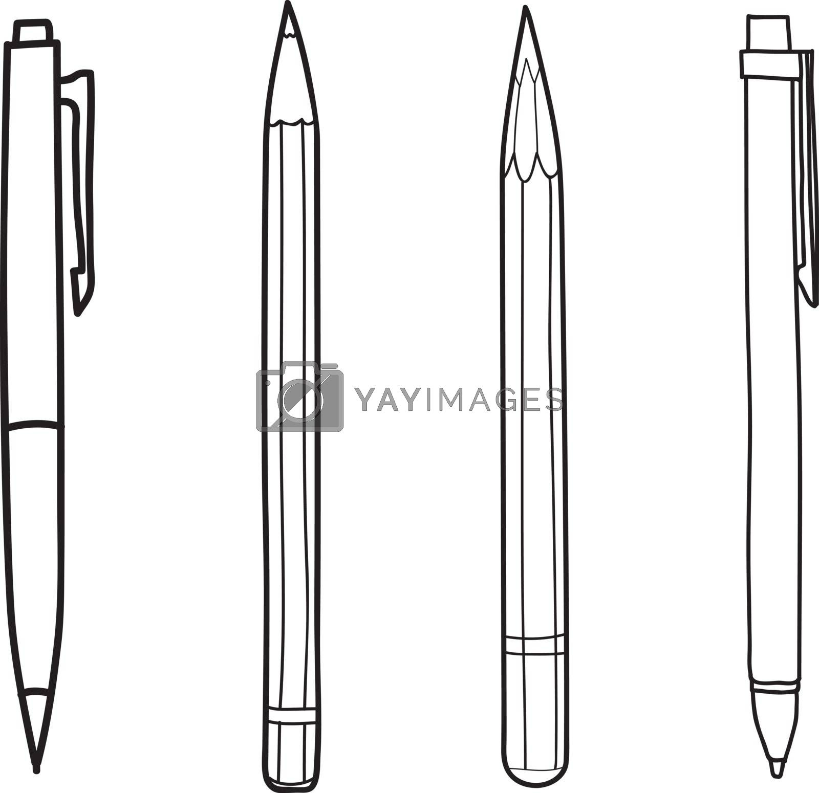hand drawn pen and pencil cute vector  line art illustration
