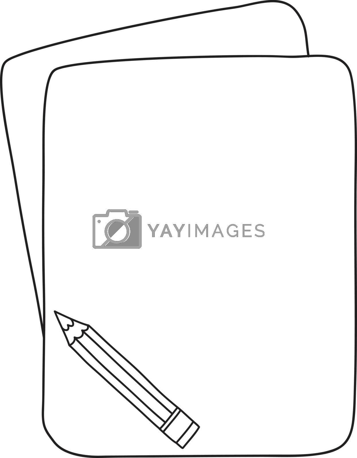 pencil and notebook hand deawn cute line art vector illustration