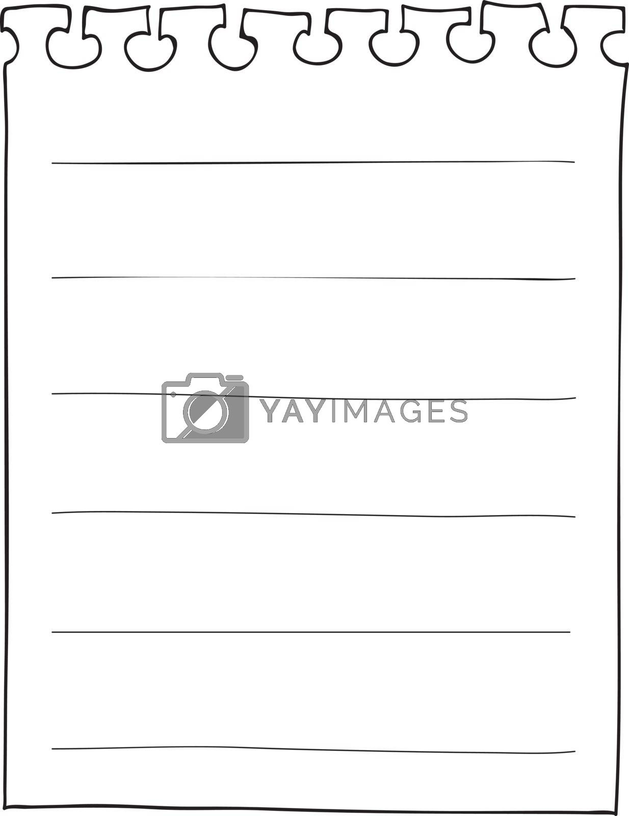 Pieces of ripped white lined notebook paper hand drawn line art vector illustration
