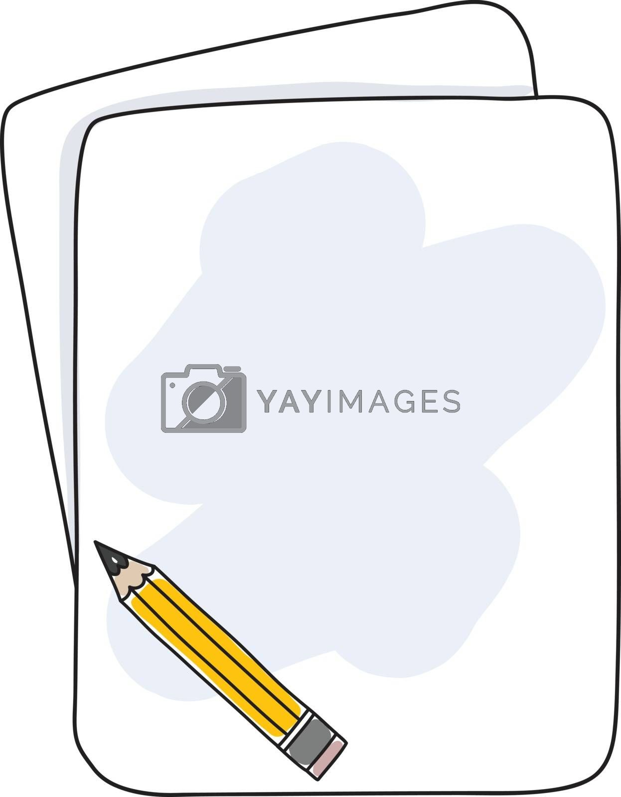 pencil and notebook hand deawn cute vector illustration