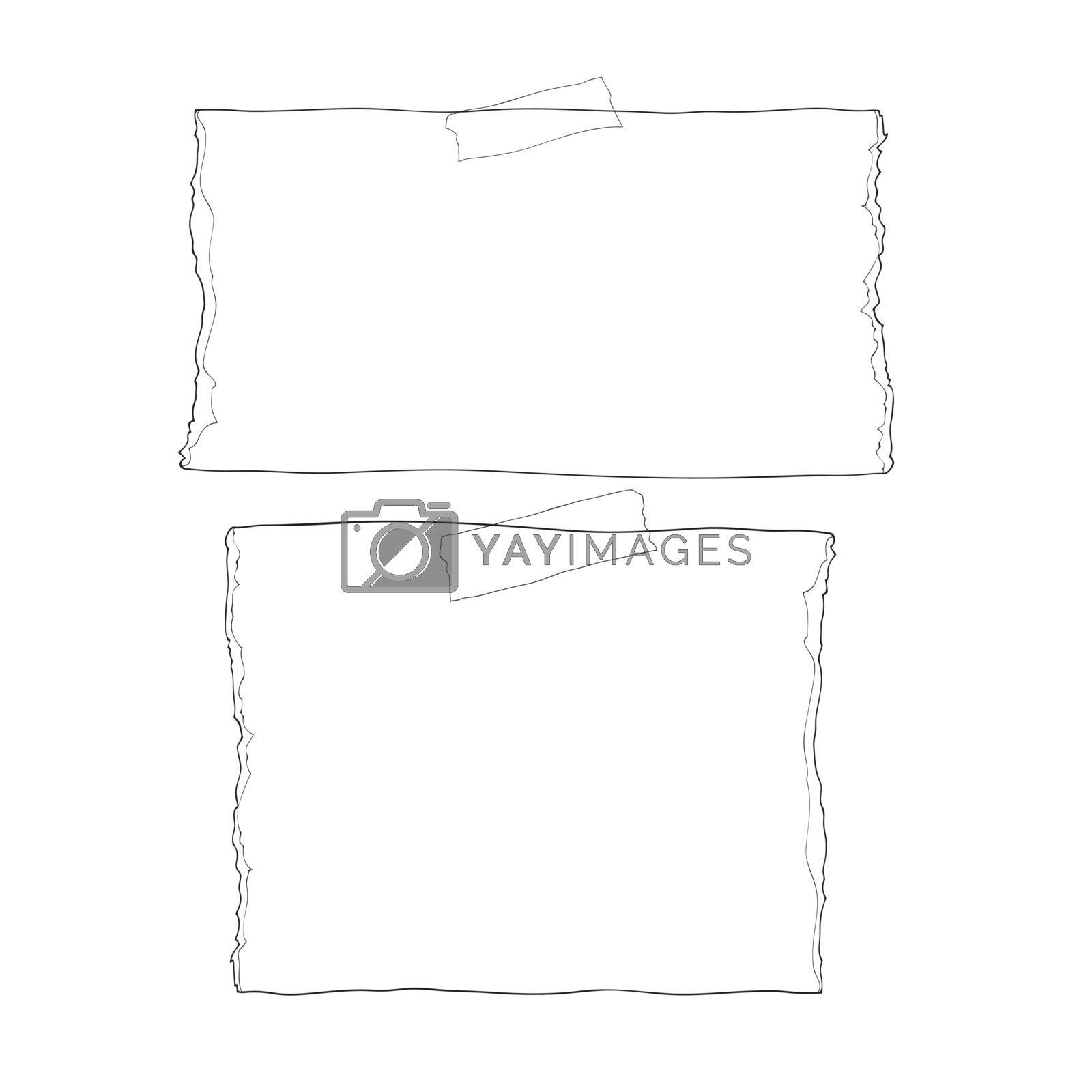 Ripped notebook paper hand drawn stuck wiht sticky tape cute line art Vector illustration