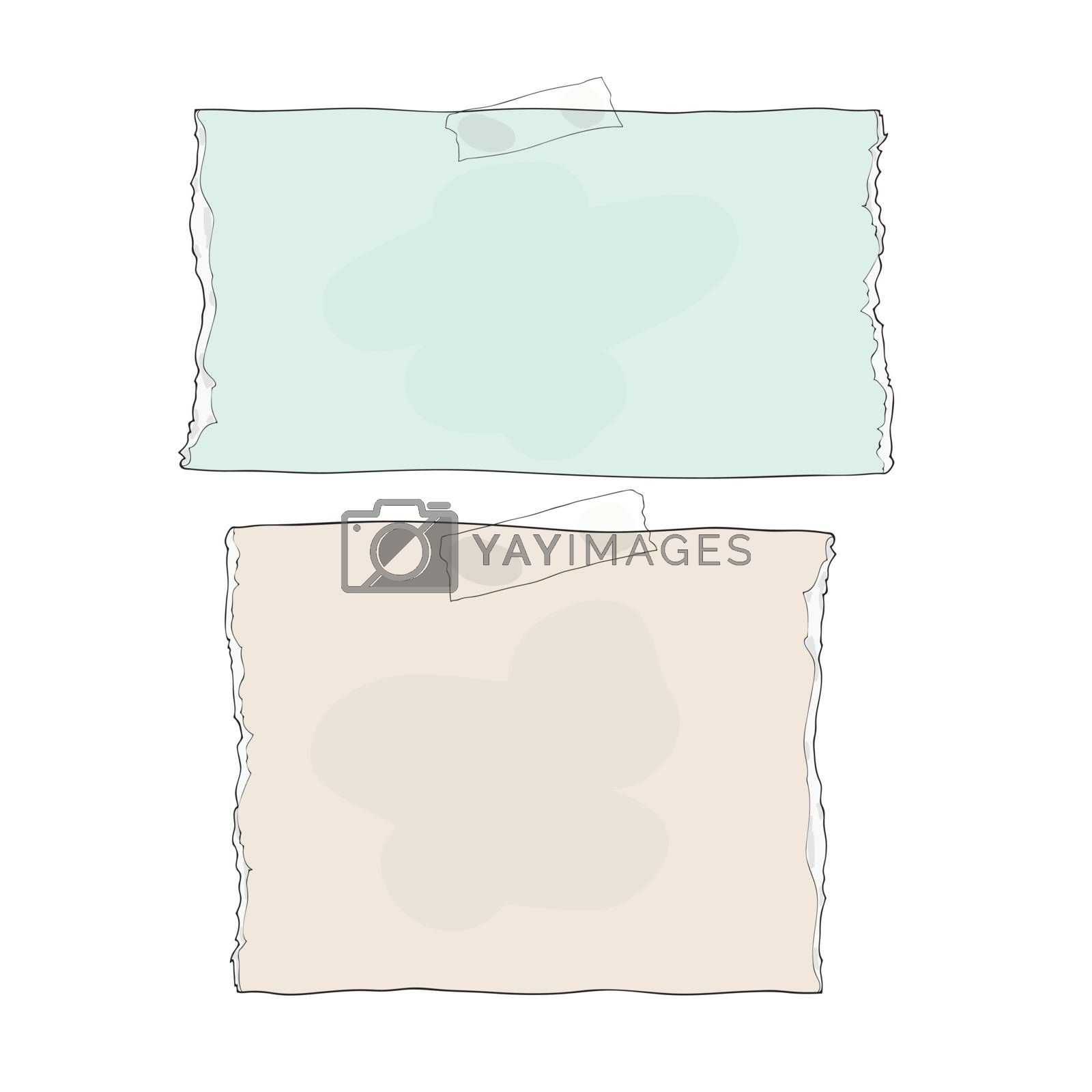 Ripped notebook paper hand drawn stuck wiht sticky tape background Vector illustration