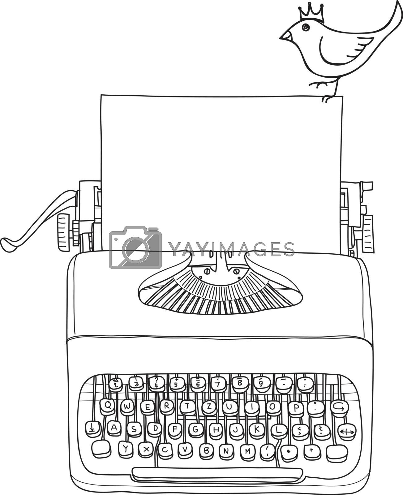 typewriter portable retro with paper and  yellow bird  hand drawn vector line art illustration