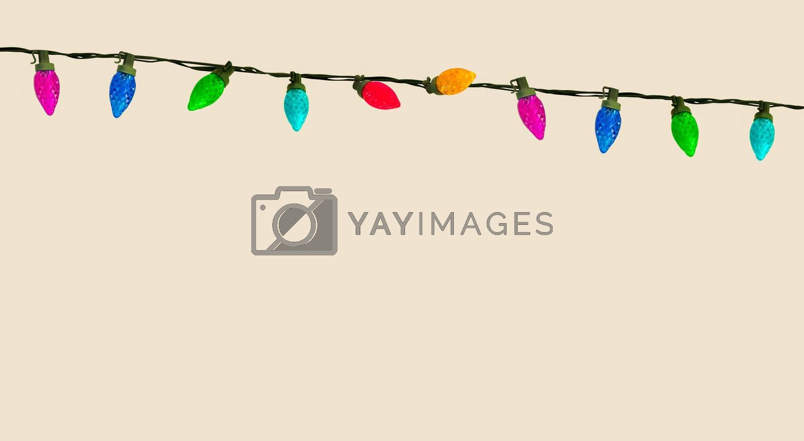 A Set Of Isolated Colorful Christmas Or Party Lights With Copy Space