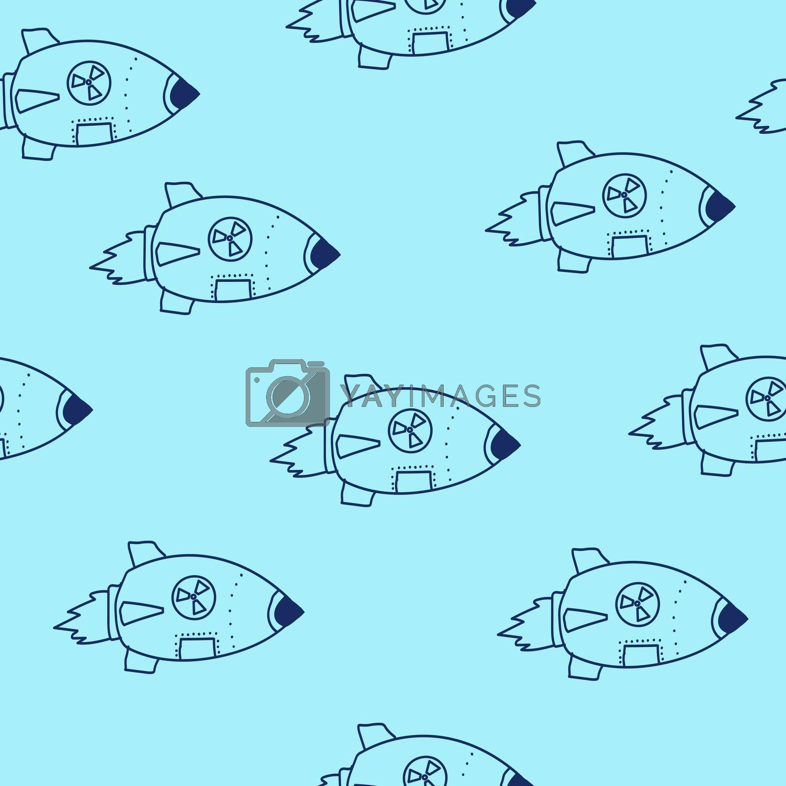 nuclear missile doodle. drawing blue line. Seamless pattern.